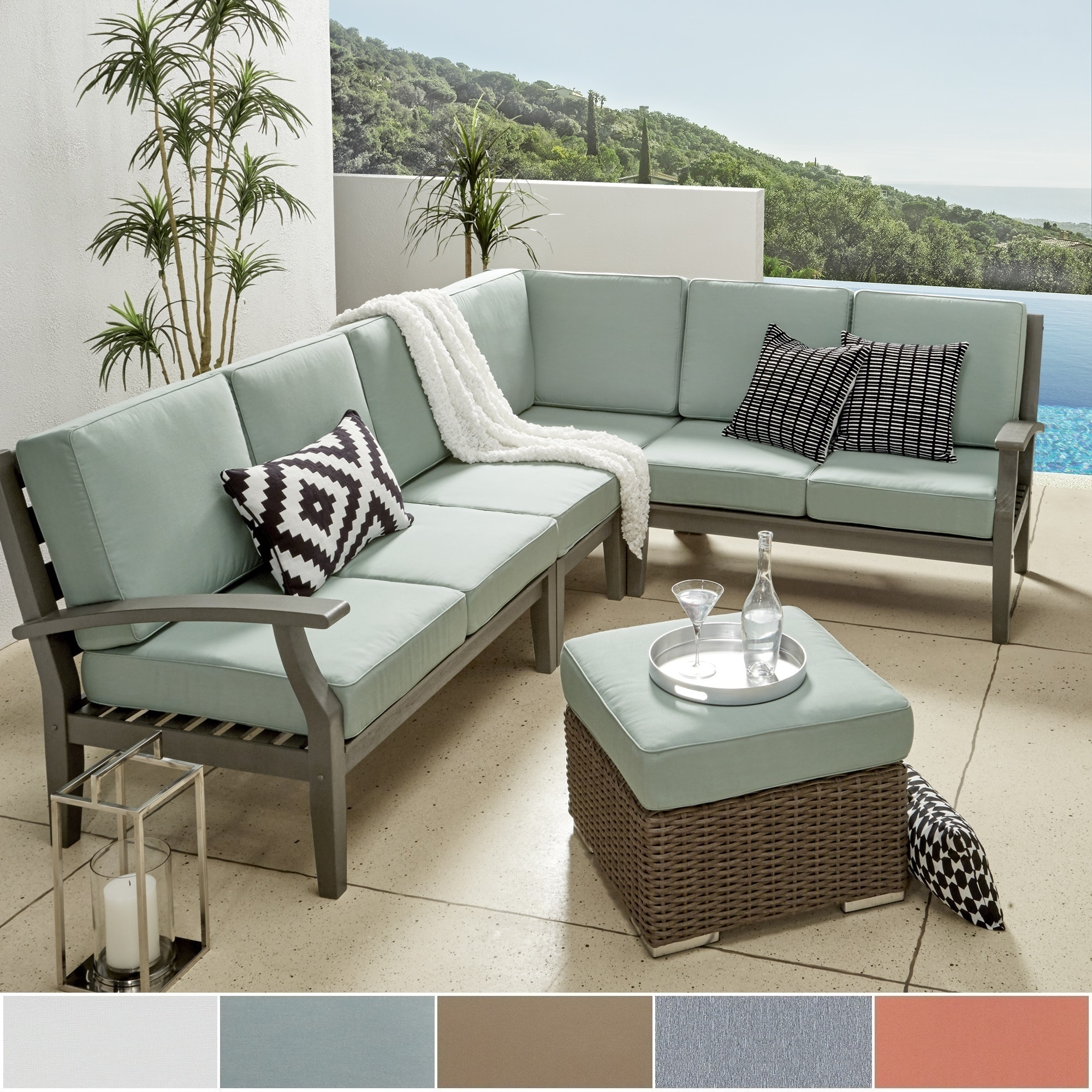 knight itm acacia bfcf wood by cushions outdoor sofa sectional with details about set piece oana christopher home