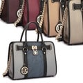 Dasein Medium Satchel Two-tone Snake Skin Print Belted Lock Satchel Handbag