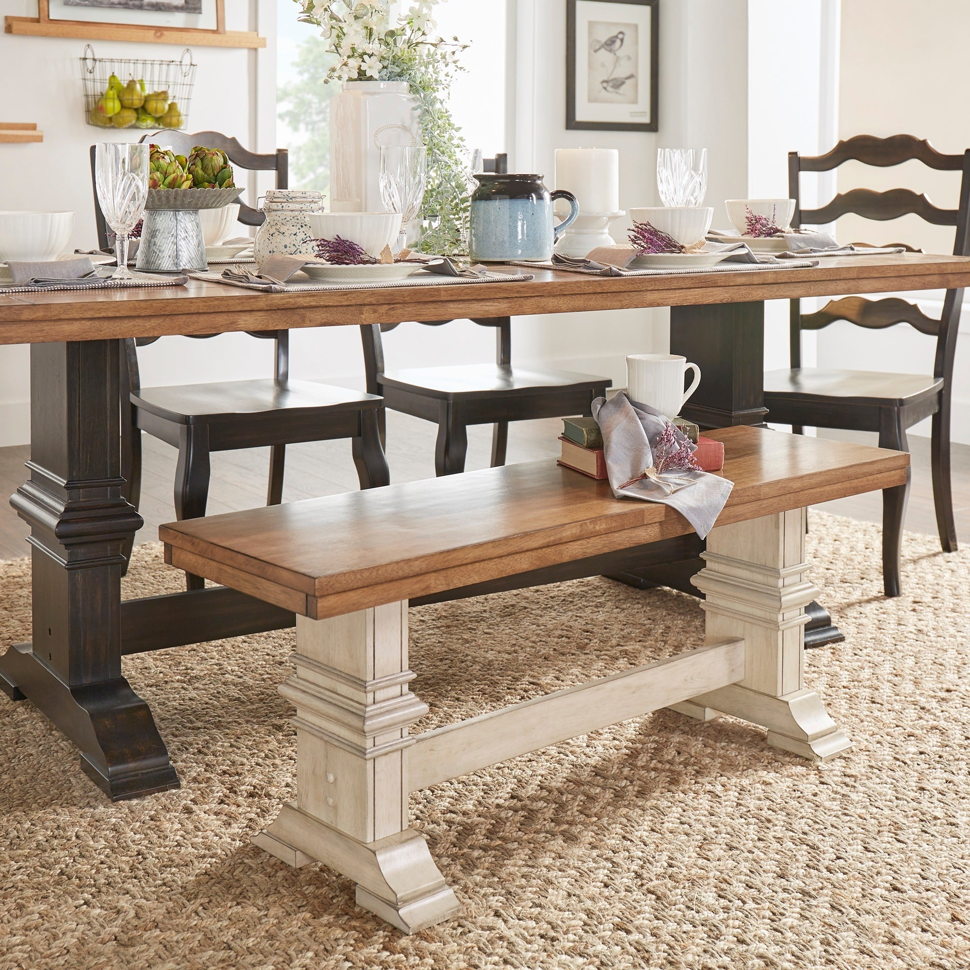 Eleanor Two-Tone Trestle Leg Wood Dining Bench by iNSPIRE Q Classic - Free  Shipping Today - Overstock.com - 20163614