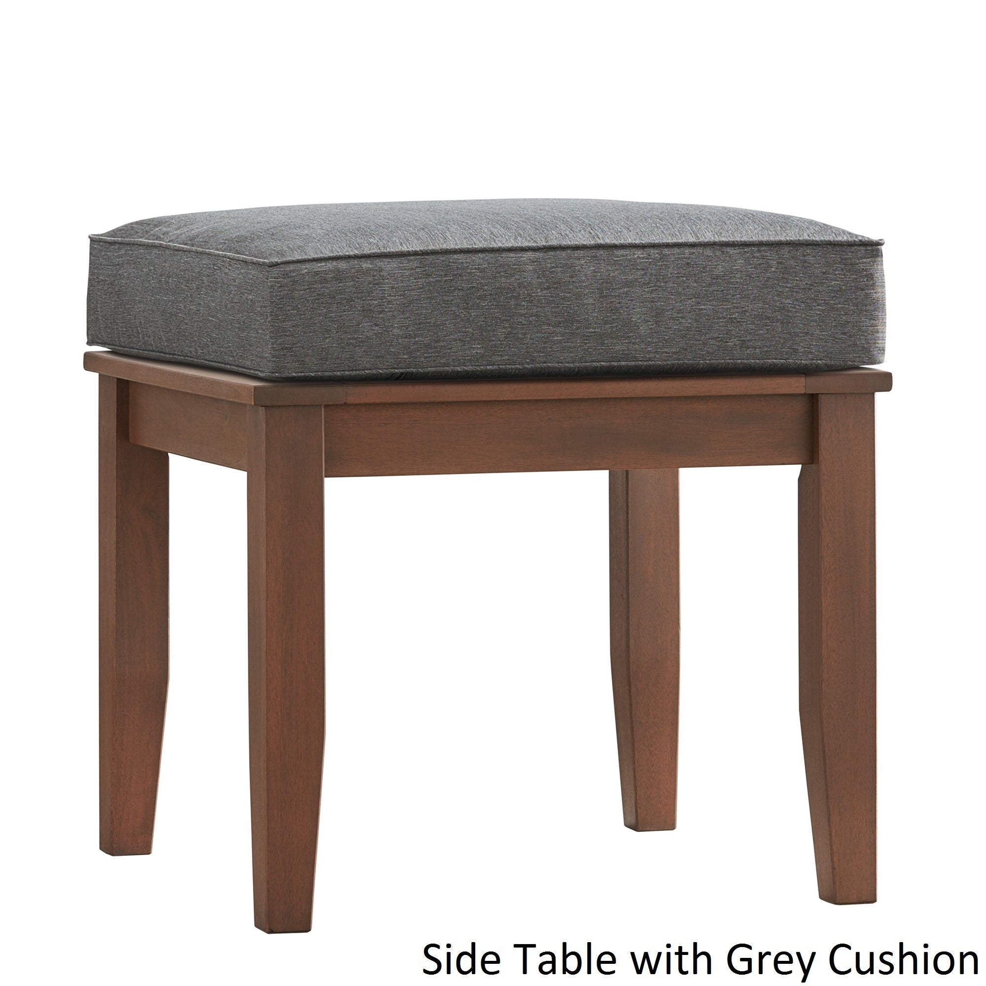 Yasawa Wood Patio Cushioned Accent Ottoman Side Table - Brown ...