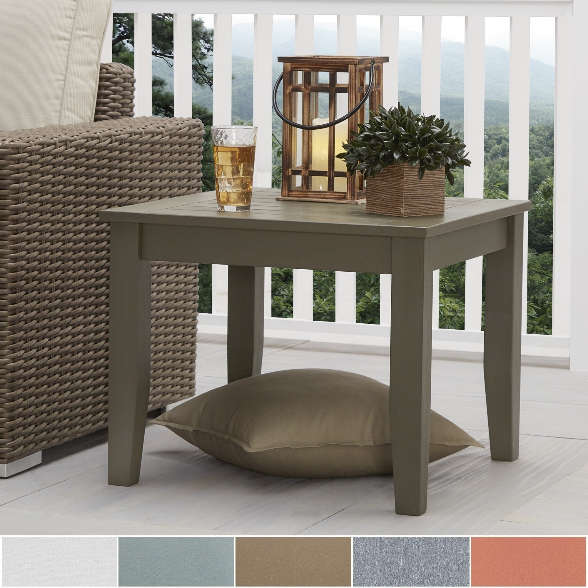 Genial Shop Yasawa Wood Patio Cushioned Accent Ottoman Side Table   Grey INSPIRE Q  Oasis   On Sale   Free Shipping Today   Overstock.com   13477499