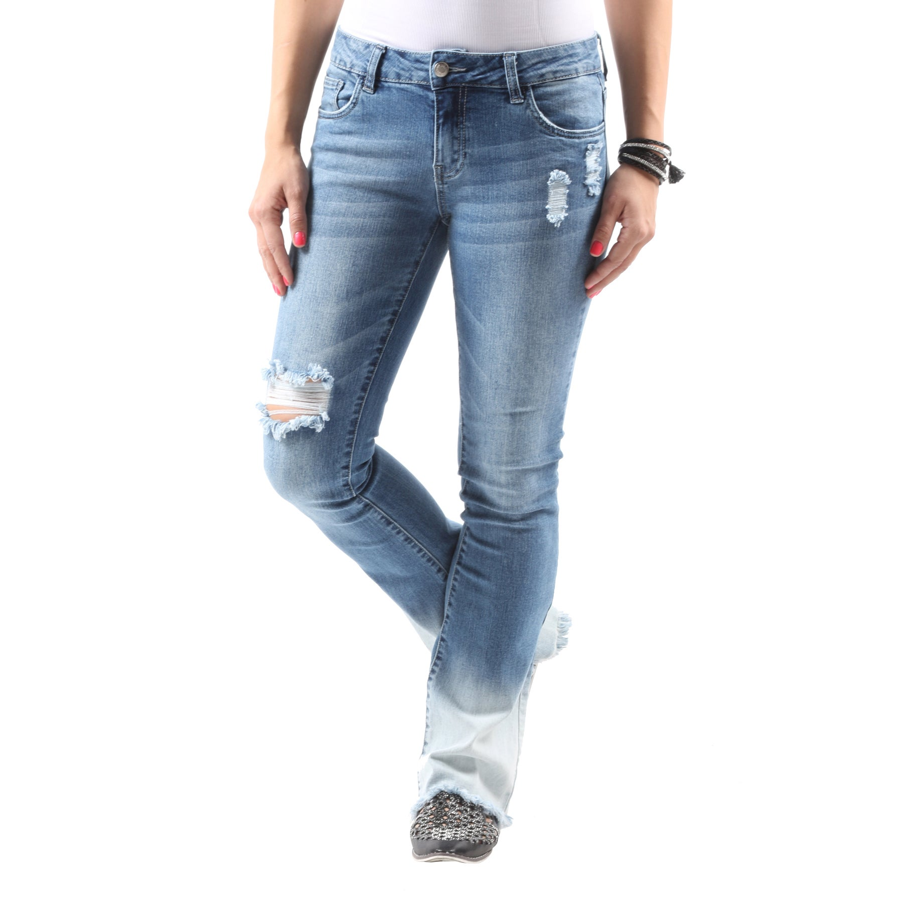 6a68e66fa6e Shop Hadari Women s Casual Stylish Distressed Ripped Denim Bootcut Jeans -  On Sale - Free Shipping Today - Overstock.com - 13488230