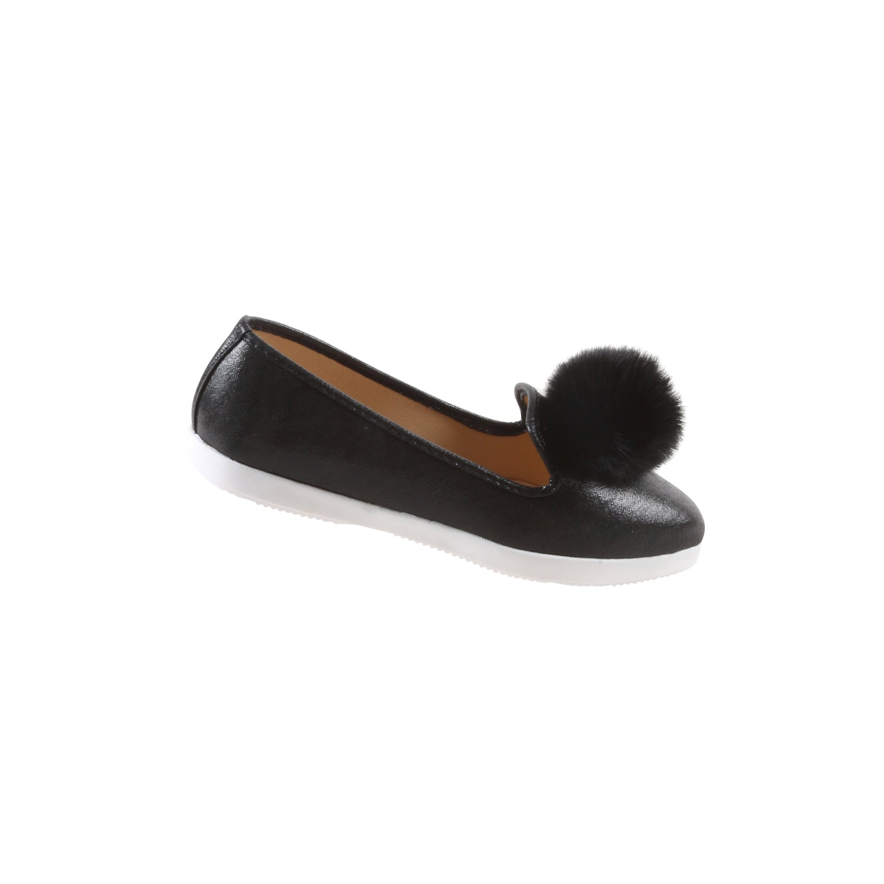 253529a92 Shop Hadari Women's Casual Fashion Slip On Black Pom Pom Flat Shoes ...