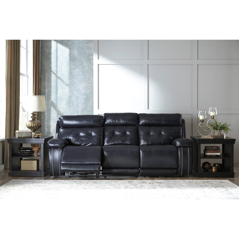 Shop Signature Design by Ashley Graford Navy Power Reclining Sofa ...