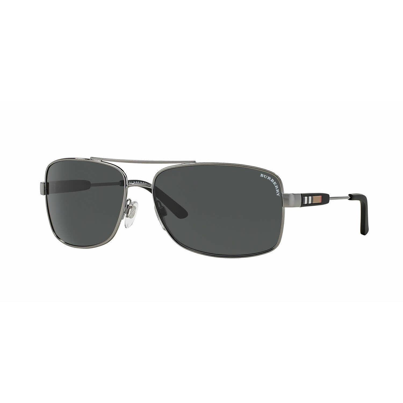 b98b59236c Shop Burberry Mens BE3074 100387 Gunmetal Metal Rectangle Sunglasses ...