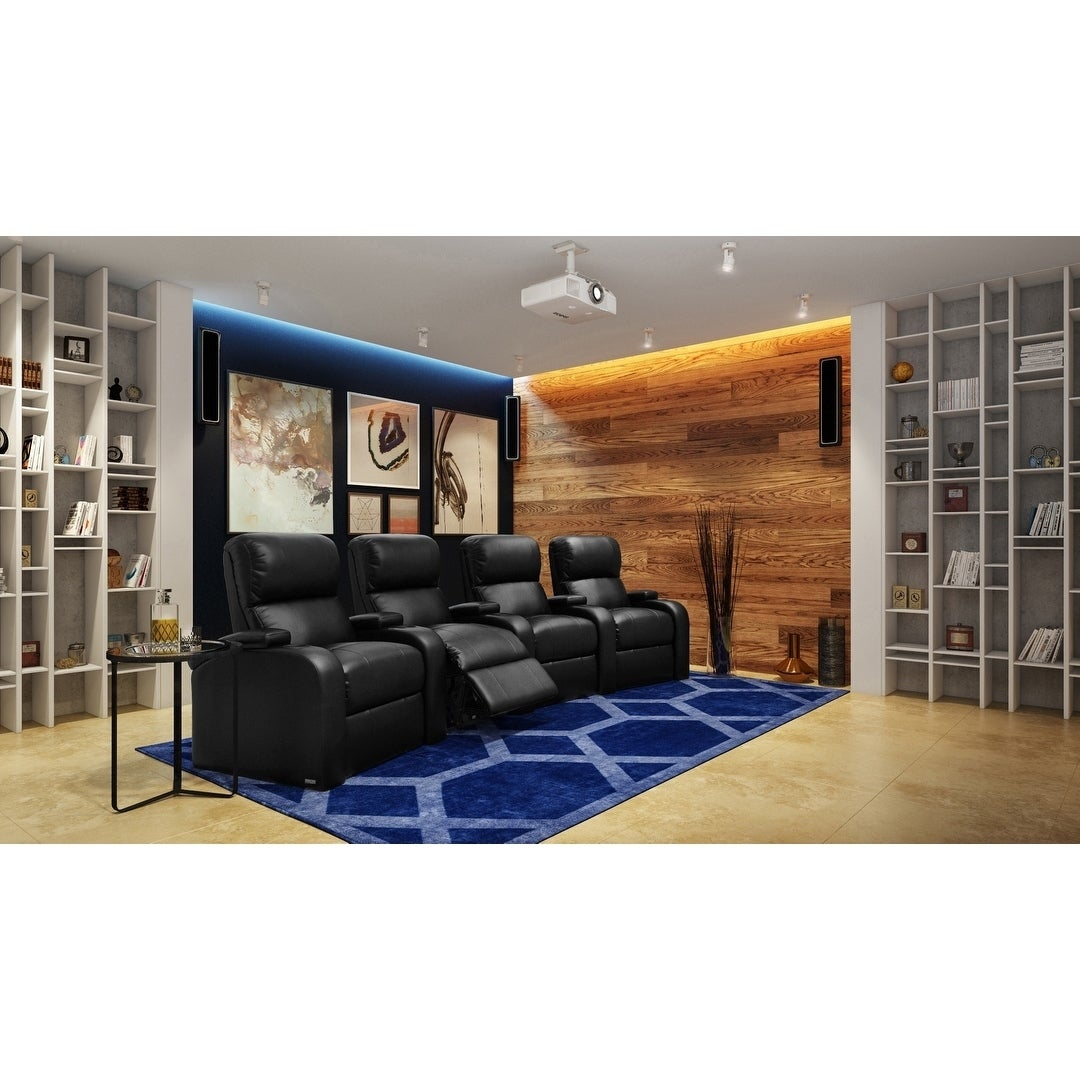Shop Octane Edge XL800 Manual Leather Home Theater Seating Set (Row Of 4)    Free Shipping Today   Overstock.com   13519041