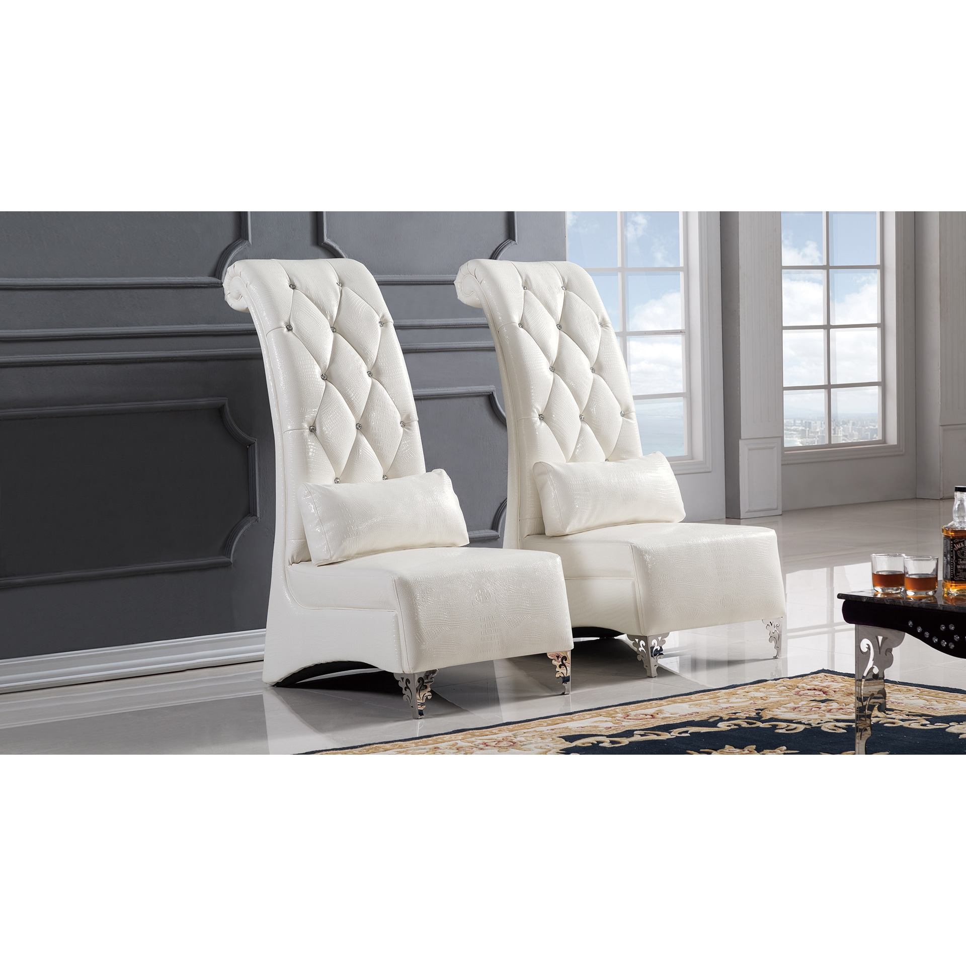 Amazing White Faux Leather Accent Chair   Free Shipping Today   Overstock   20201277
