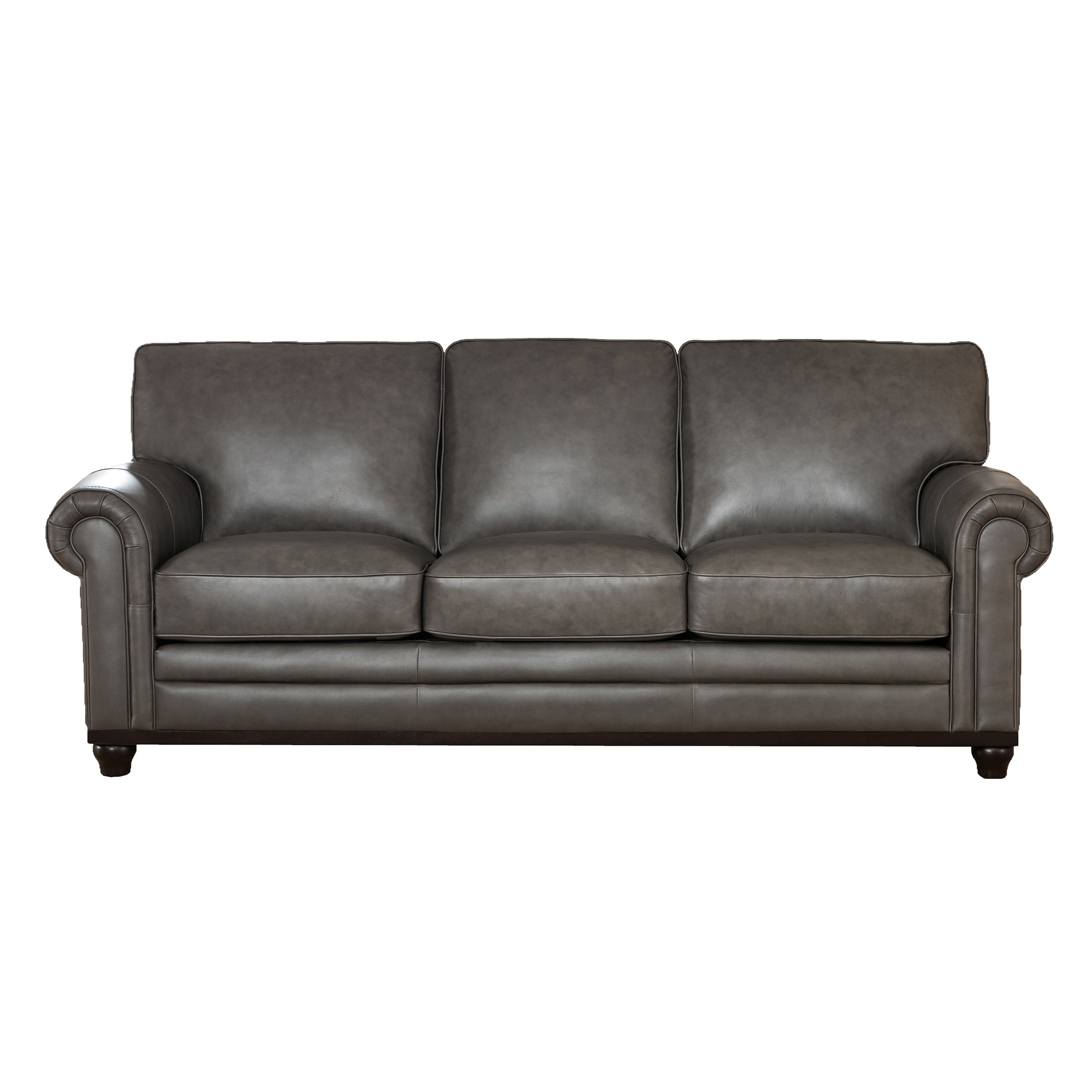 Attrayant Stafford Top Grain Grey Leather Sofa   Free Shipping Today   Overstock.com    20205810