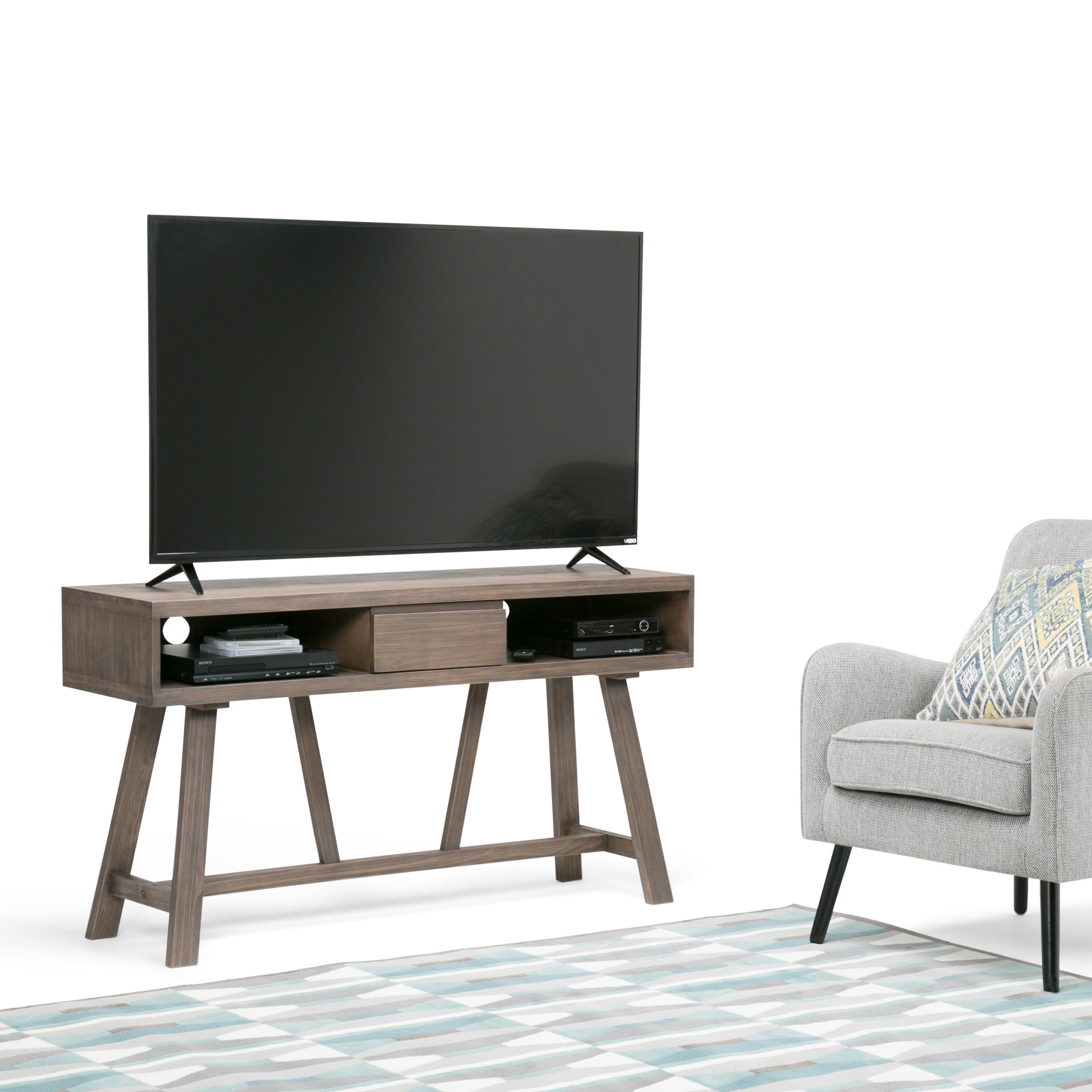 Shop Wyndenhall Stewart Solid Wood 54 Inch Tv Media Stand For Tvs Up