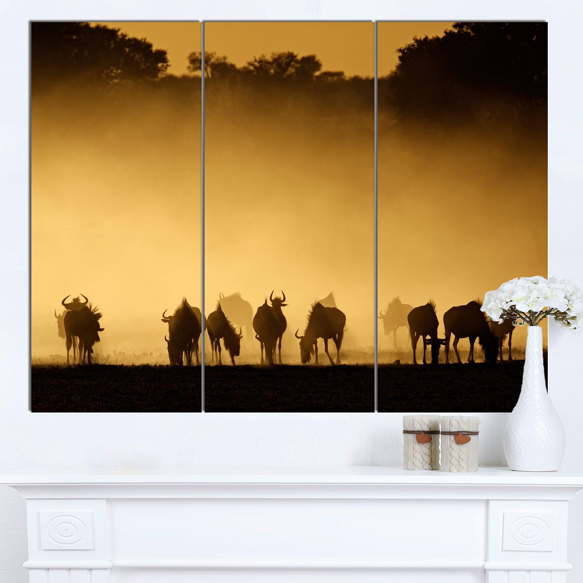 Shop Designart \'Blue Wildebeest in Dust\' African Wall Art Canvas ...