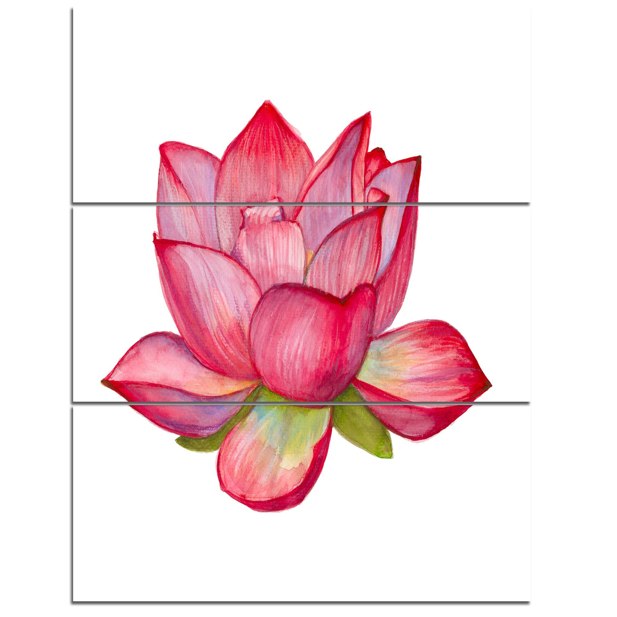 Designart Pink Lotus Watercolor Illustration Flower Artwork On