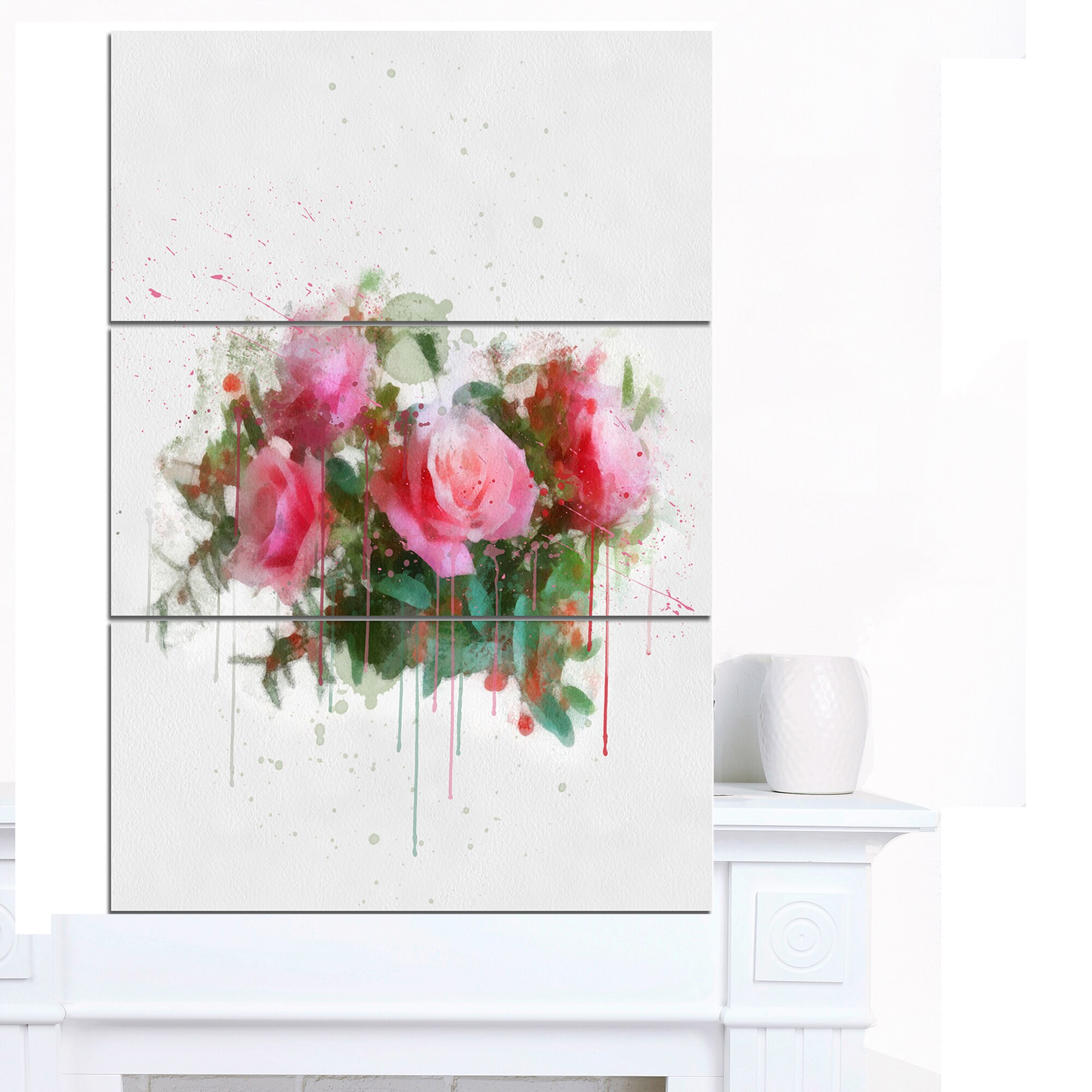 Designart Bunch Of Pink Roses Watercolor Flower Artwork On Canvas