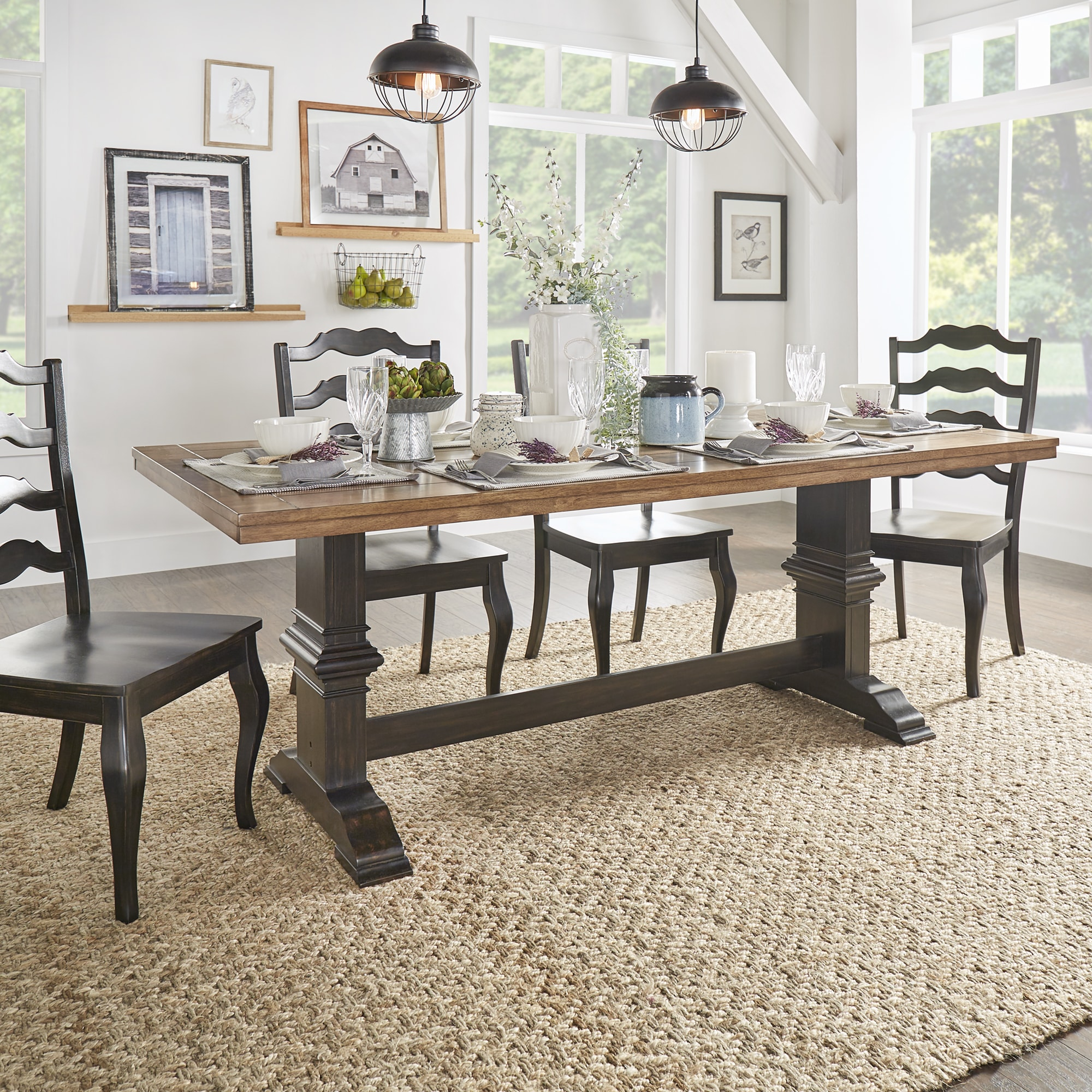 Eleanor Two Tone Rectangular Solid Wood Top Dining Table By INSPIRE Q  Classic   Free Shipping Today   Overstock.com   20215861