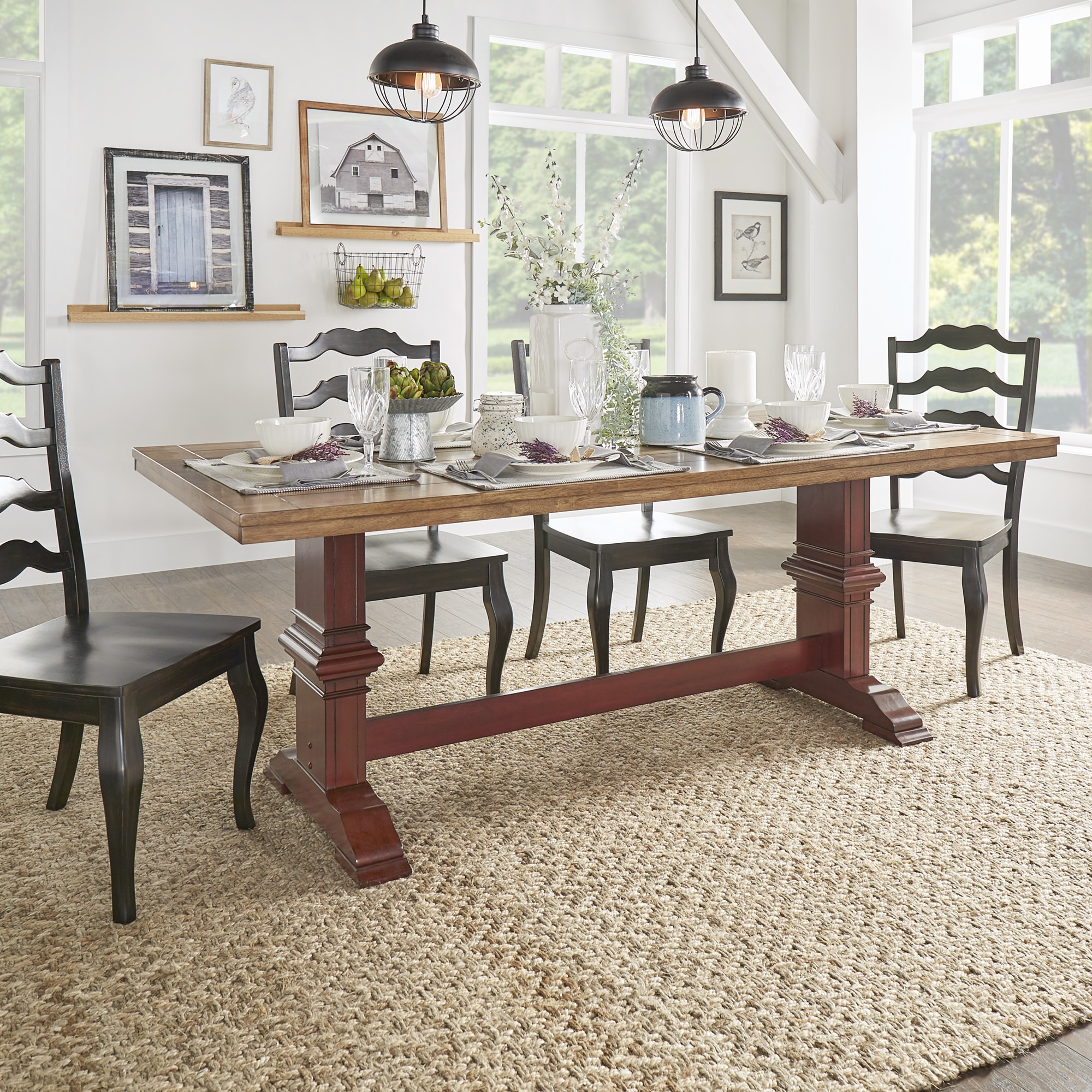 Shop Eleanor Two-tone Rectangular Solid Wood Top Dining Table by ...