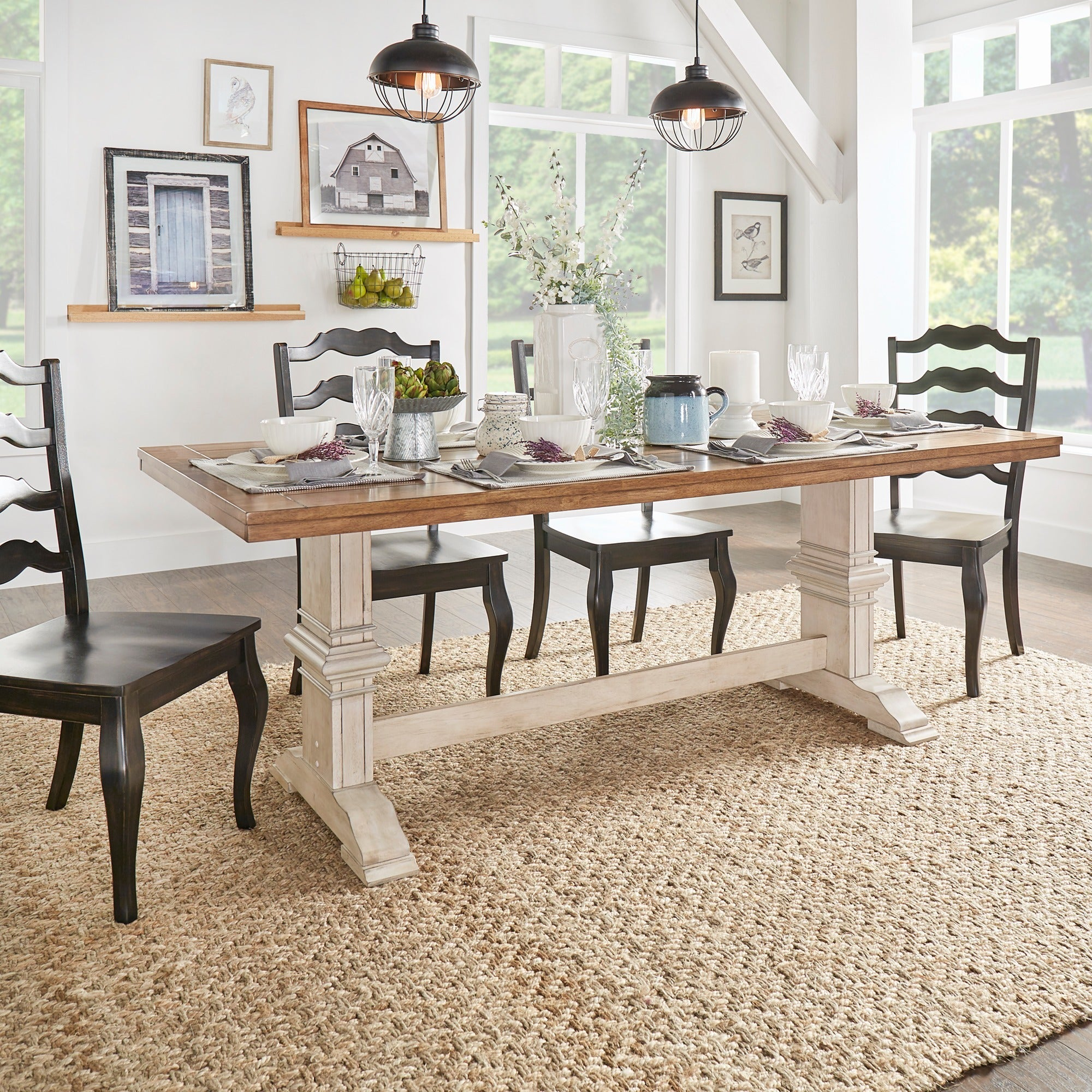 Eleanor Two Tone Rectangular Solid Wood Top Dining Table By Inspire Q Clic On Free Shipping Today 13535779
