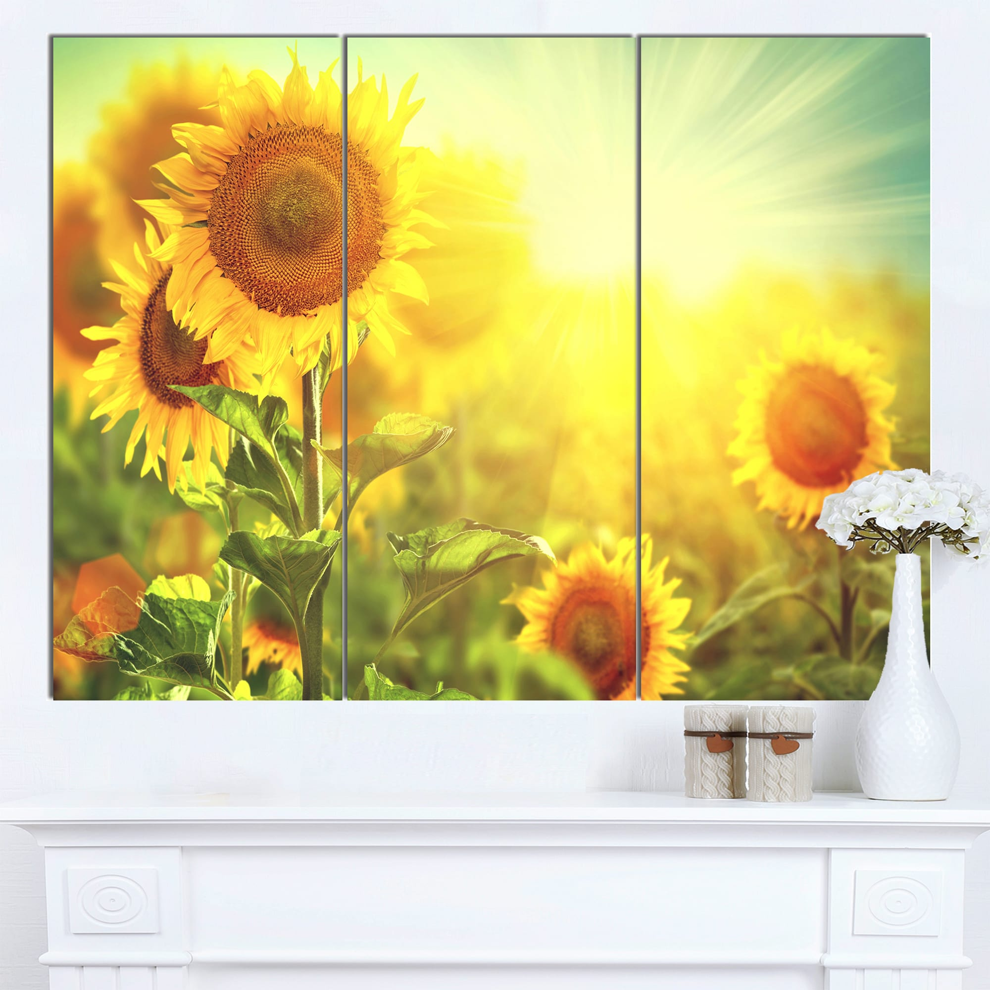 Designart \'Sunflowers blooming on the field\' Large Animal Canvas ...