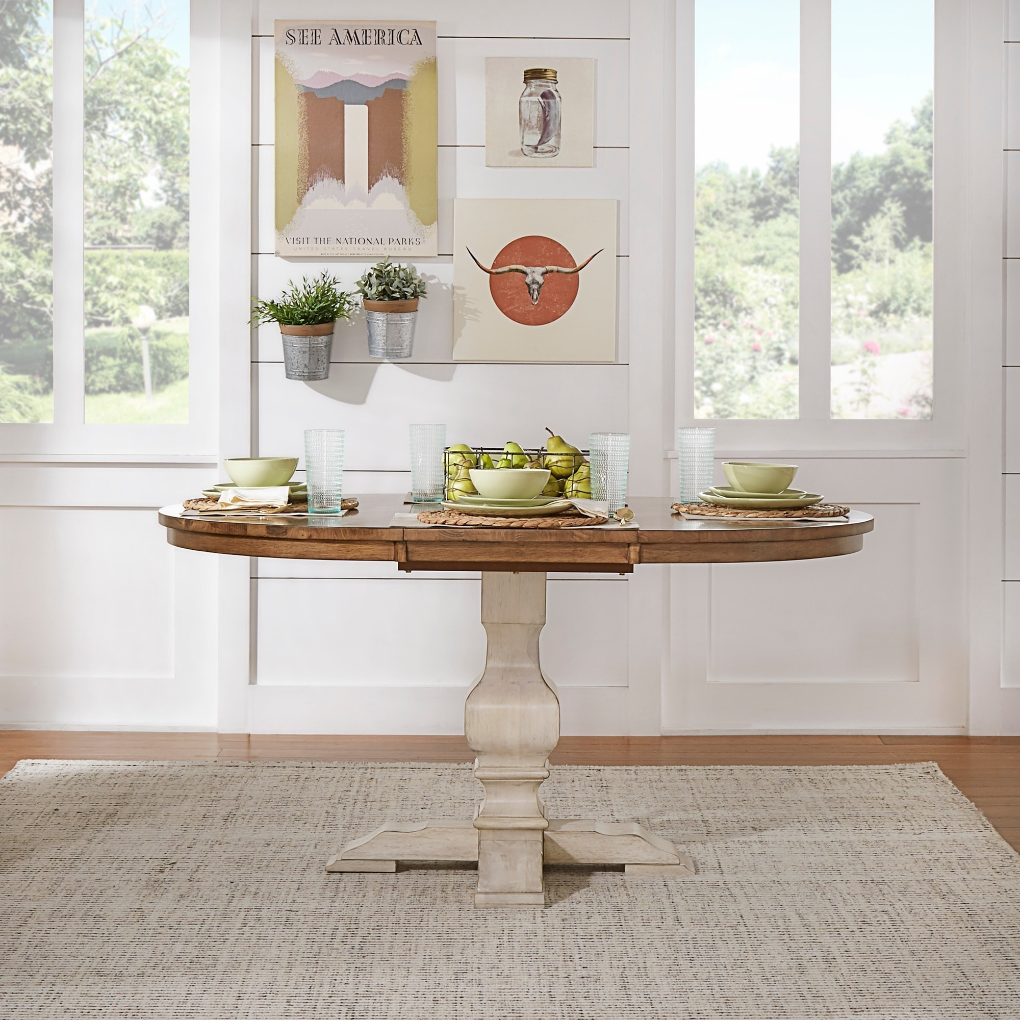 Eleanor Two Tone Oval Solid Wood Top Extending Dining Table By Inspire Q Clic