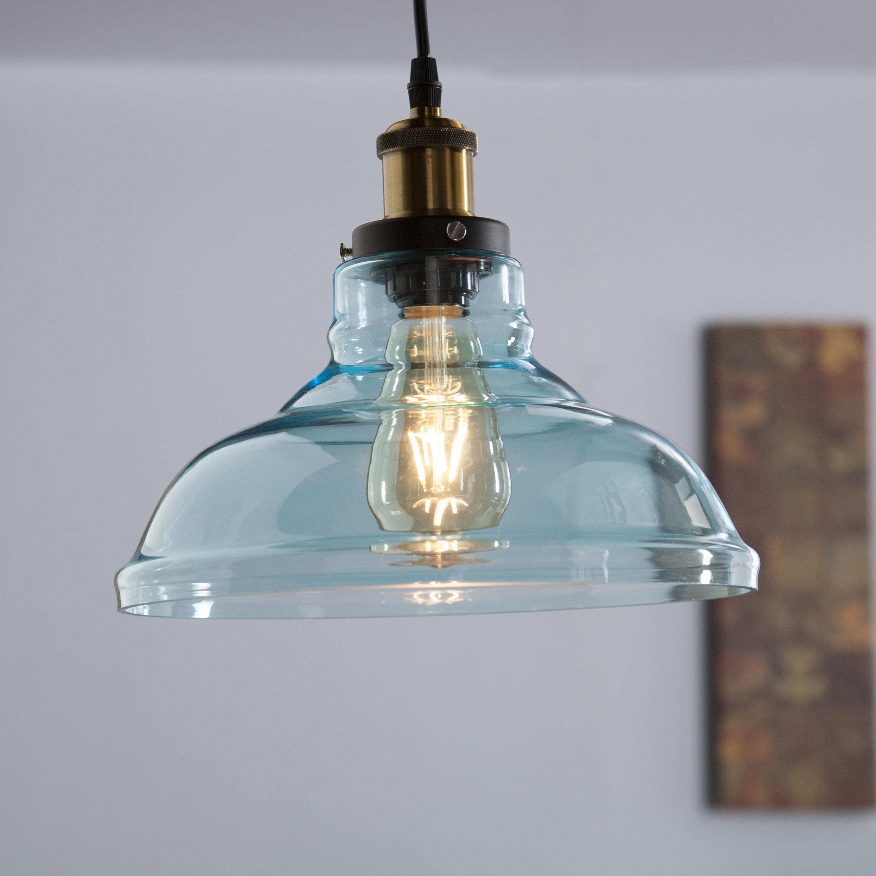 Shop Harper Blvd Gracie Colored Glass Bell Pendant Lamp - Soft Aqua ...