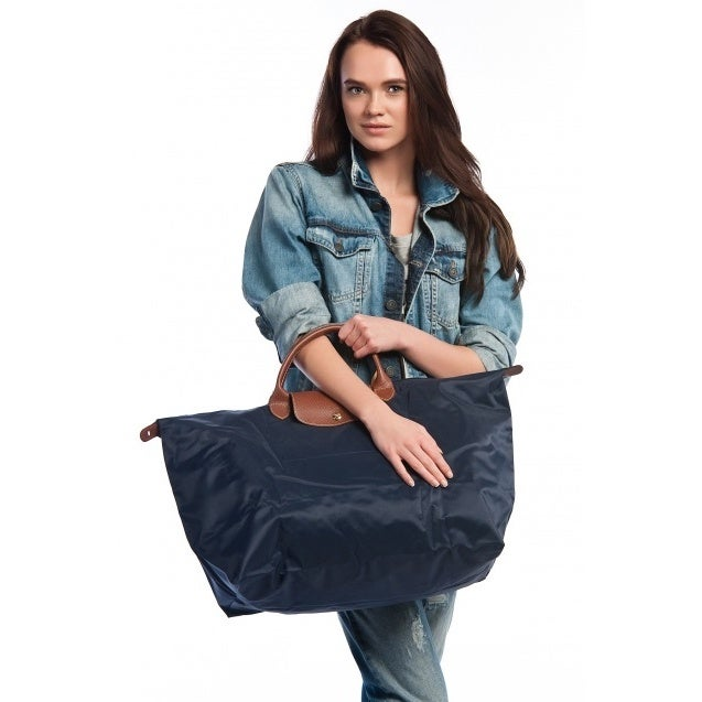 f377b7d7f2bb Shop Longchamp Le Pliage Large Navy Foldable Tote Bag - Free Shipping Today  - Overstock - 13544120
