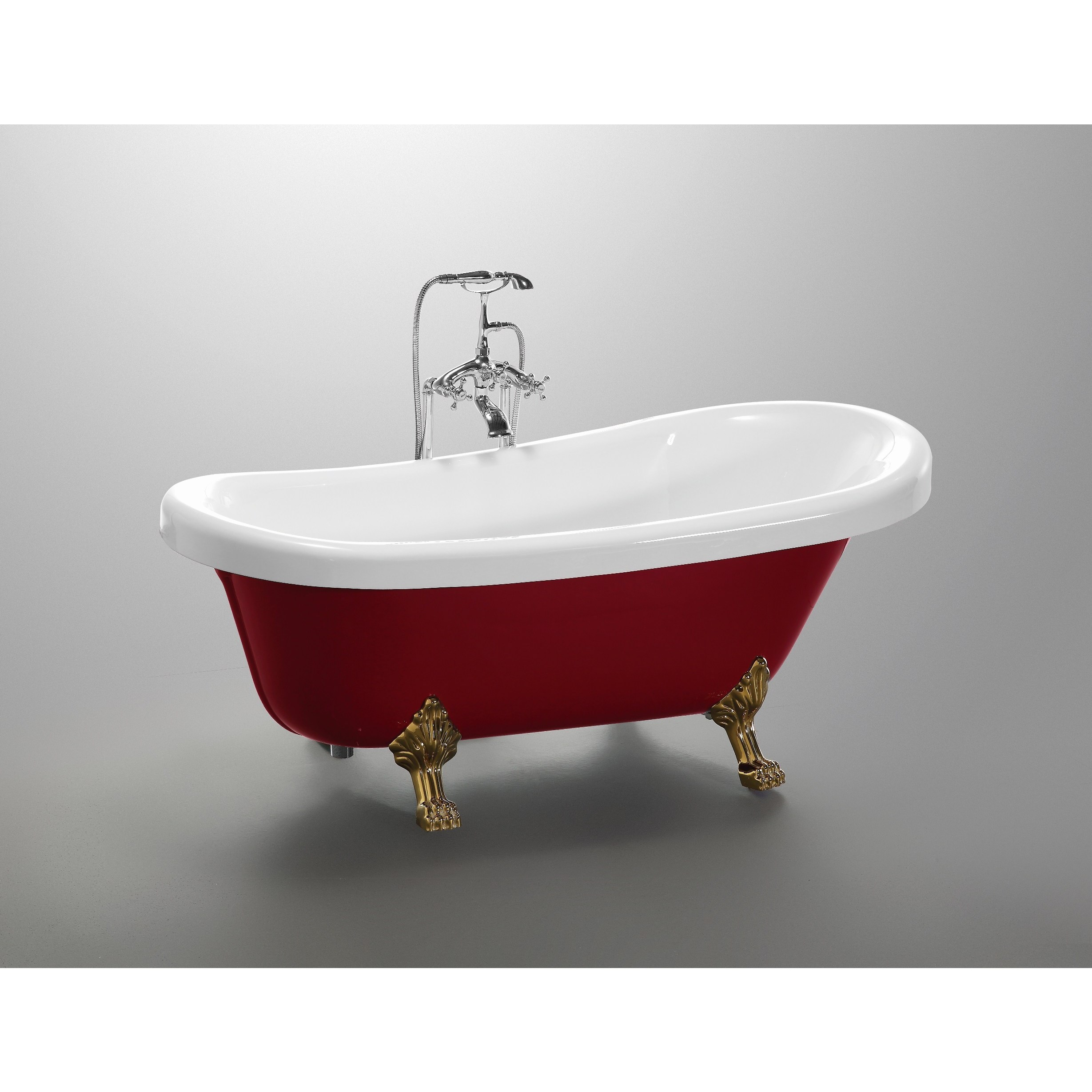 Shop Vanity Art Freestanding Red and White Acrylic 67-Inch Claw Foot ...