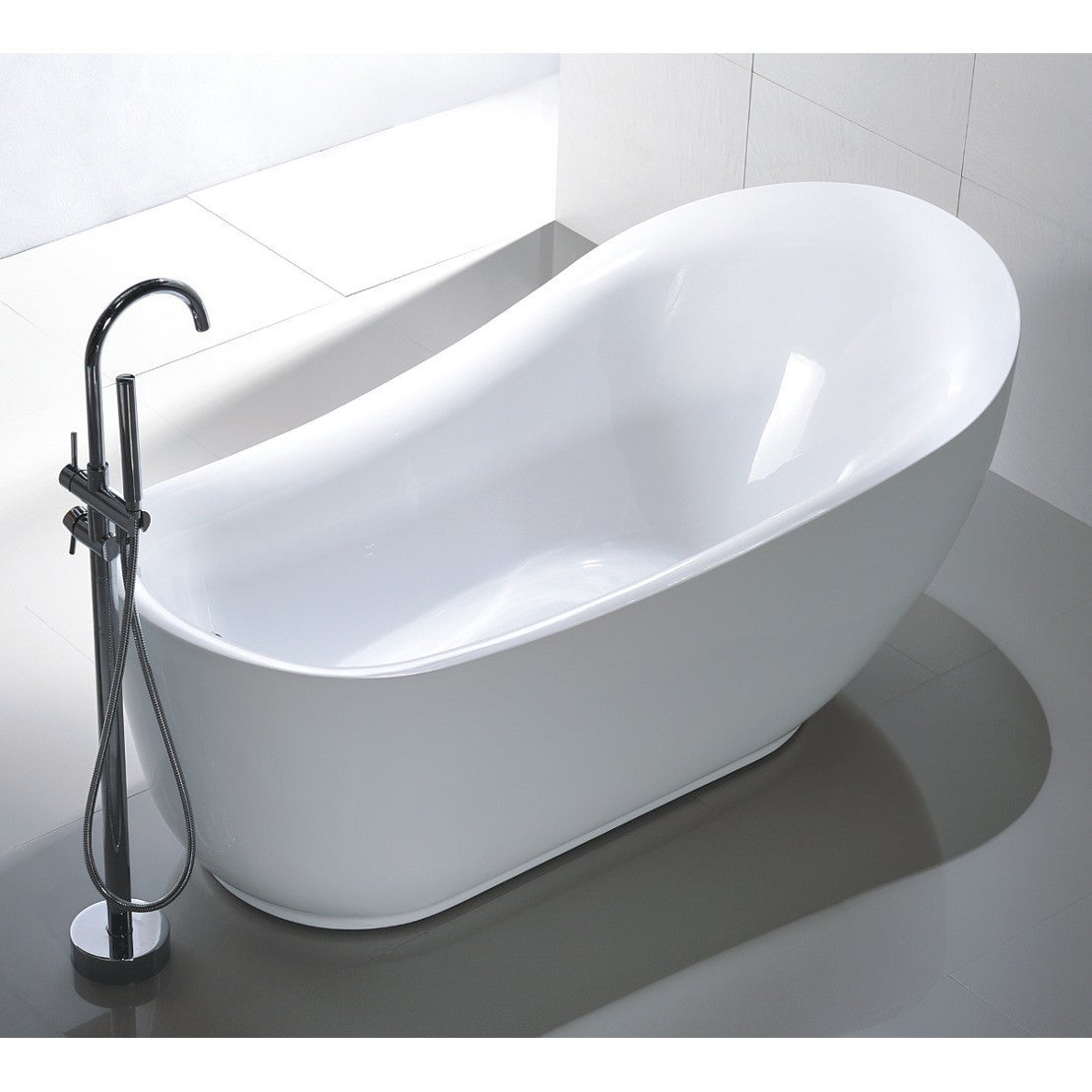 Vanity Art Freestanding White Acrylic 71-Inch Soaking Bathtub - Free ...