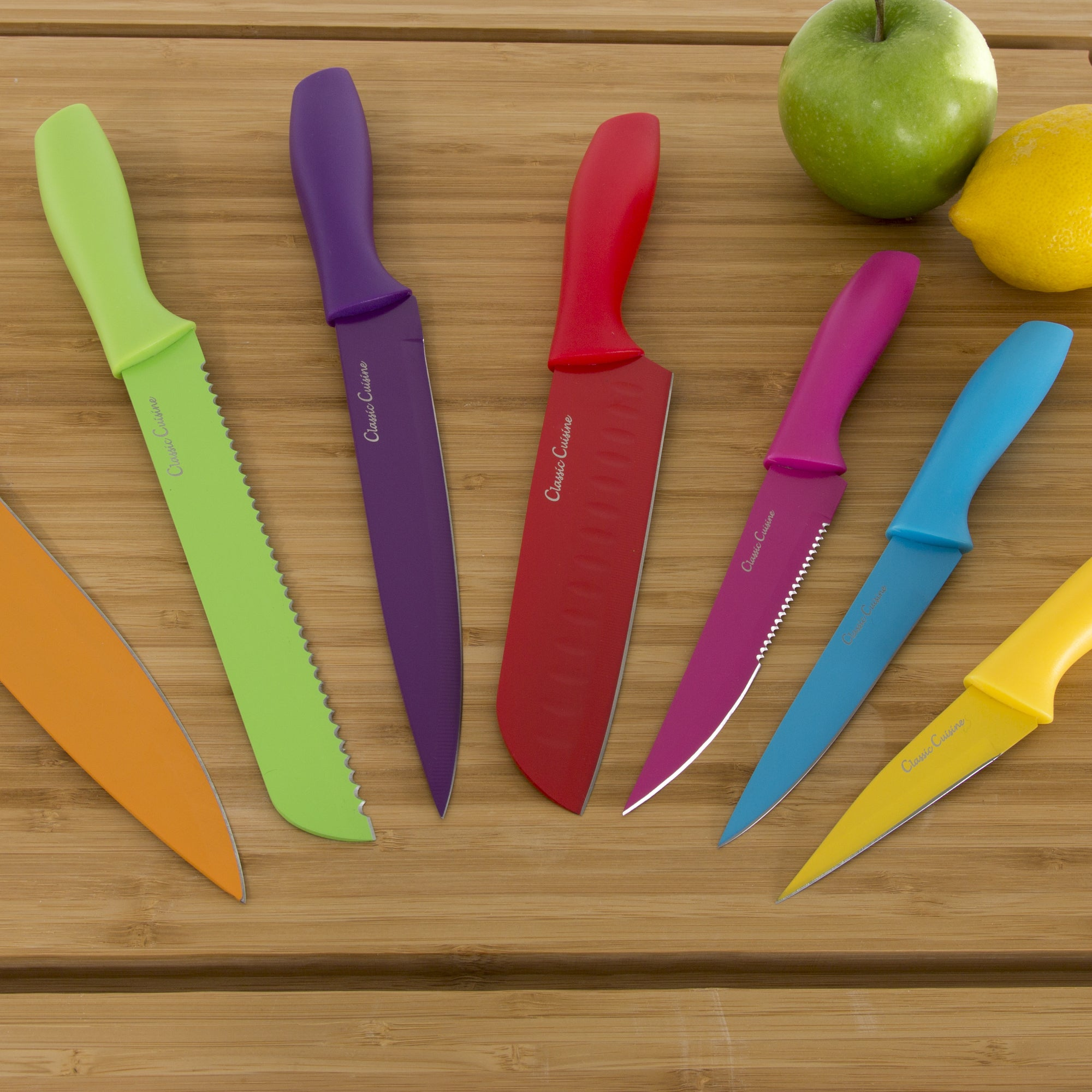 Superbe Shop Classic Cuisine 14 Piece Colored Knife Set With Sheaths   Pro Grade    On Sale   Free Shipping On Orders Over $45   Overstock.com   13550540