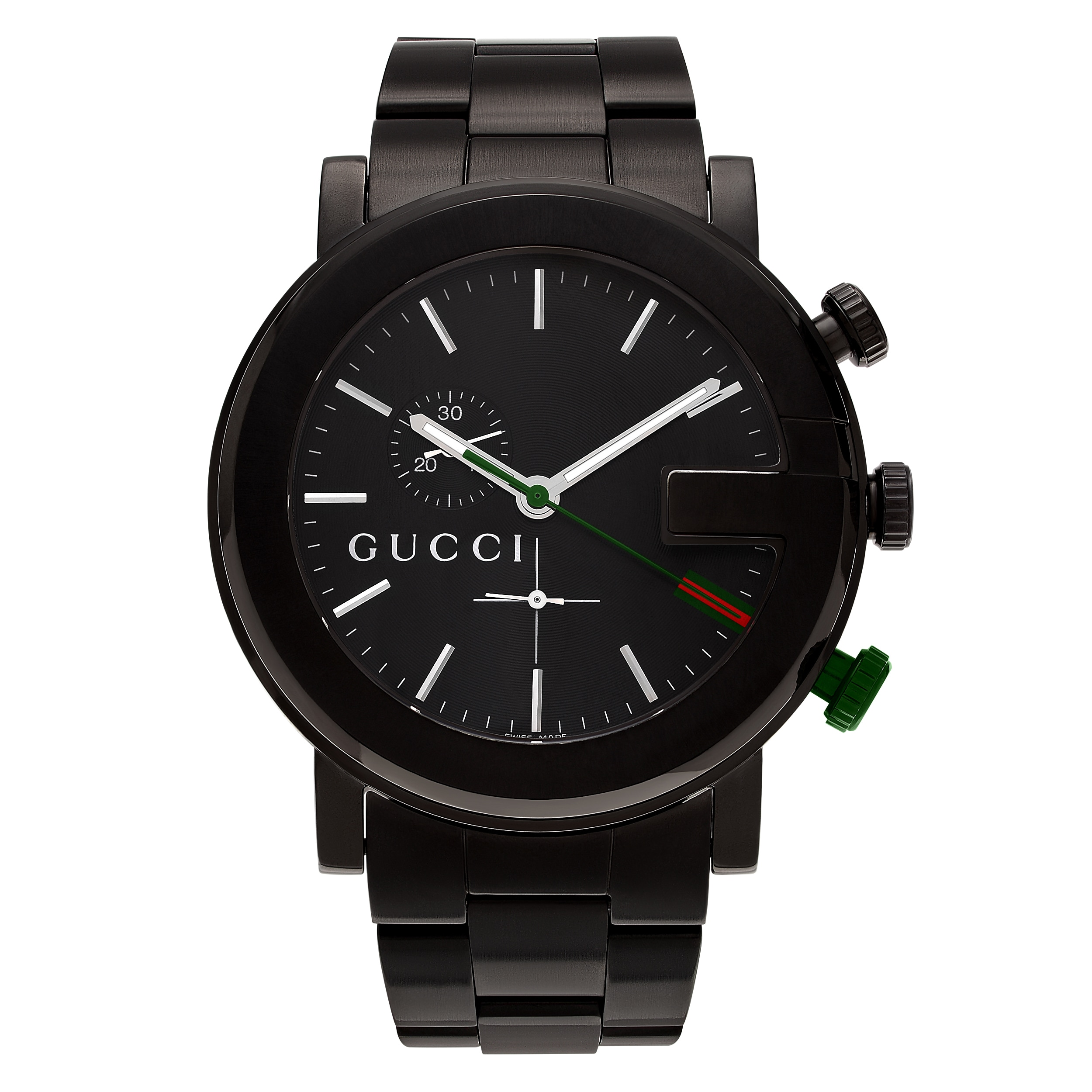 31ca215b0a1 Shop Gucci Men s  101G  YA101331 Black Ion Plated Chronograph Dial Link  Bracelet Watch - Free Shipping Today - Overstock - 13554512