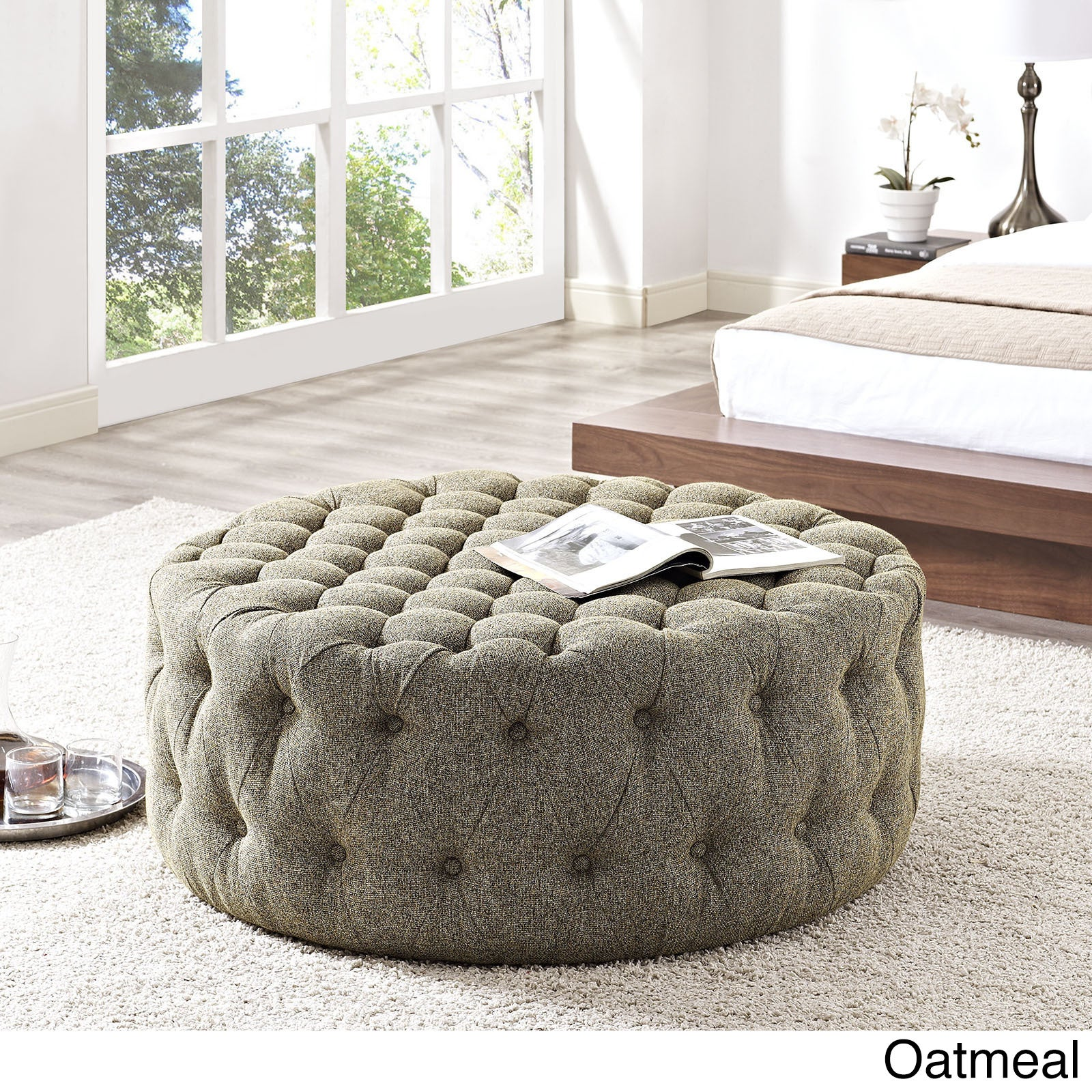 Amour Fabric Ottoman Free Shipping Today Overstock