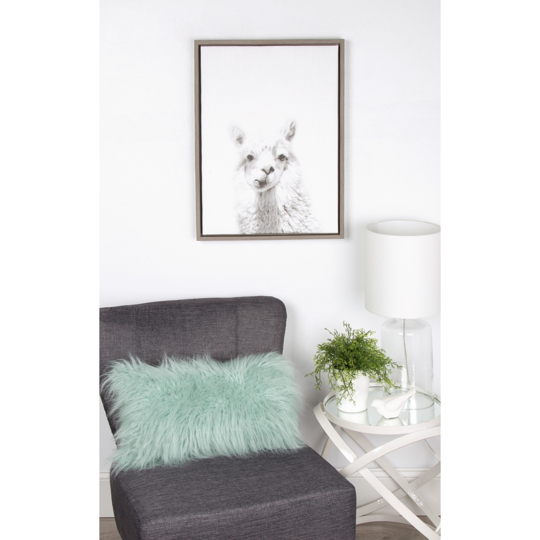 DesignOvation Simon Te \'Alpaca Portrait\' Black/White Framed Canvas ...