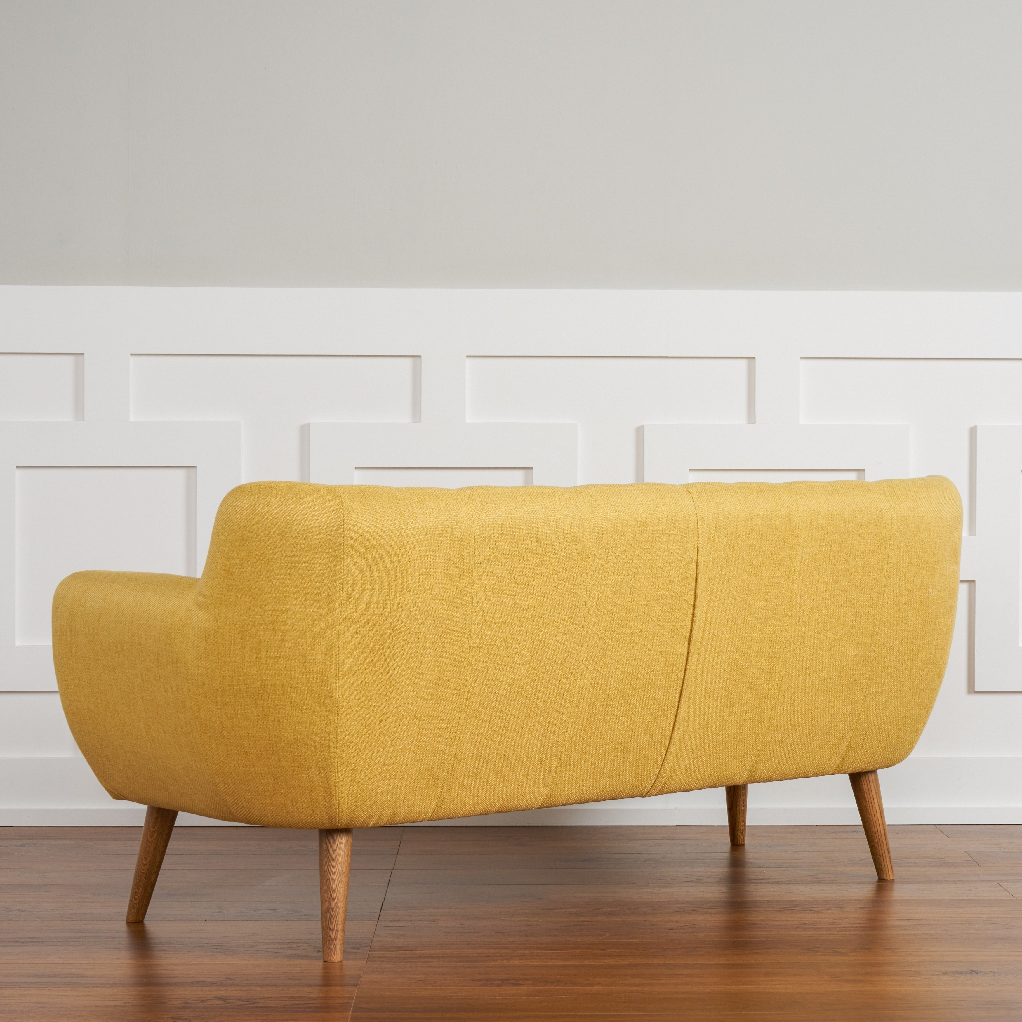 Shop The Curated Room Rhodes Mid Century Modern Tufted Sunset Yellow Sofa    Free Shipping Today   Overstock.com   13578764