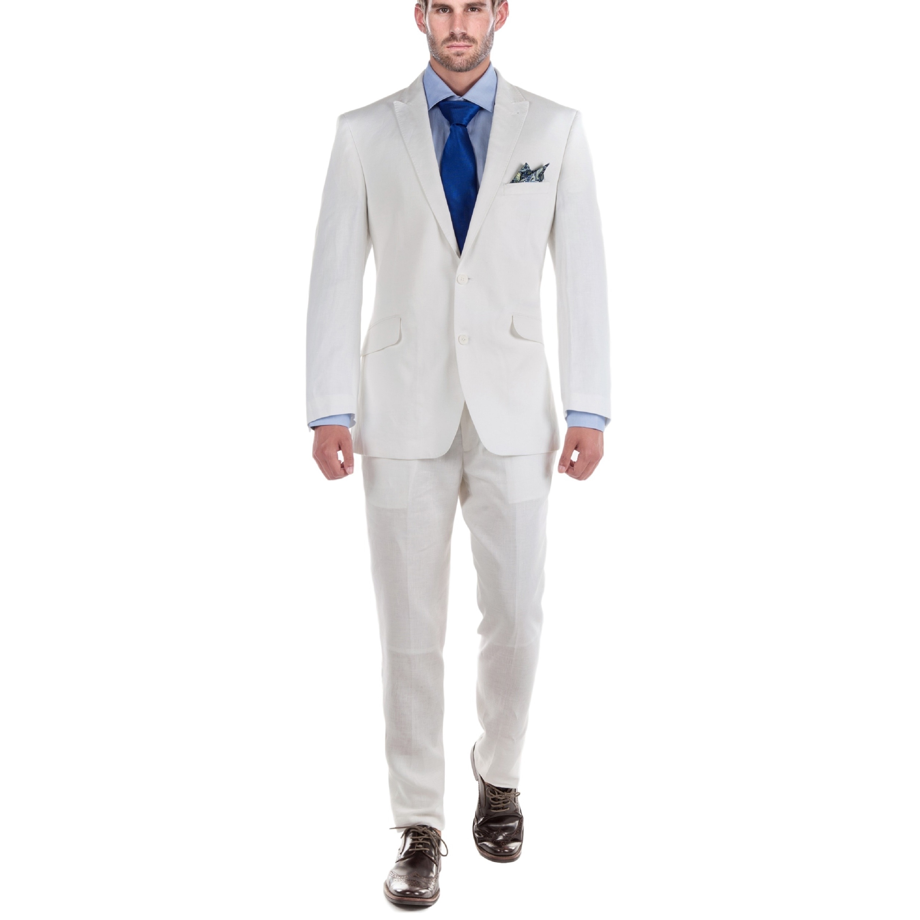 bf8b32d3c19 Shop Verno Men s White 100% Linen 2-piece Classic-fit Peak-lapel Jacket and  Pants Suit - Free Shipping Today - Overstock - 13579026