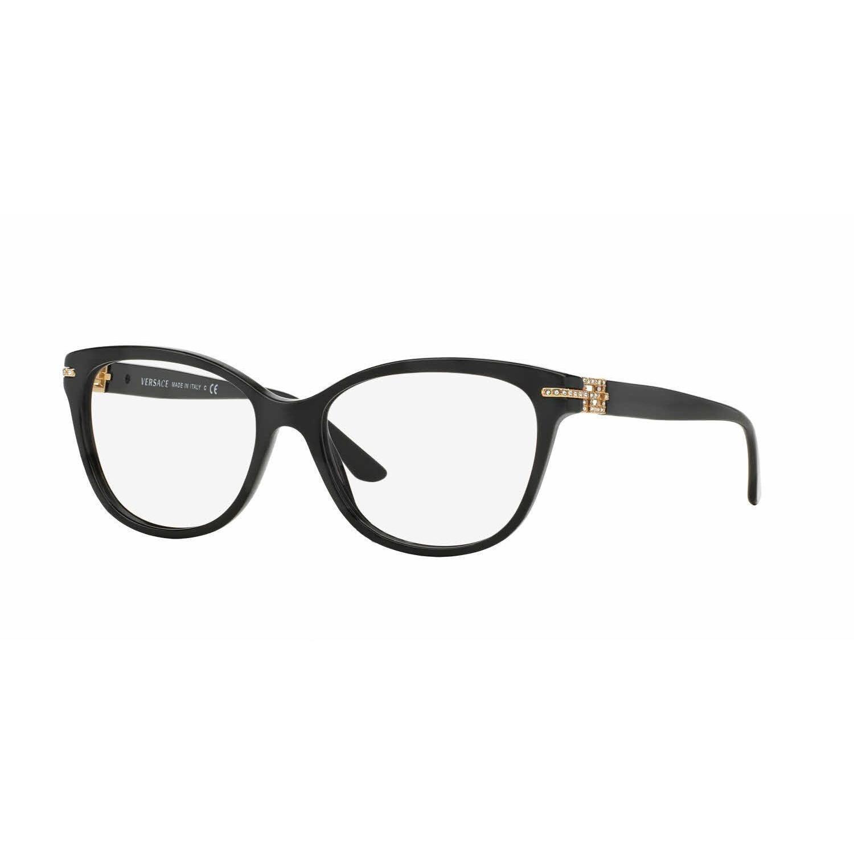 bcbb85ffc3f Shop Versace Womens VE3205BA GB1 Black Plastic Square Eyeglasses - Free  Shipping Today - Overstock - 13614587