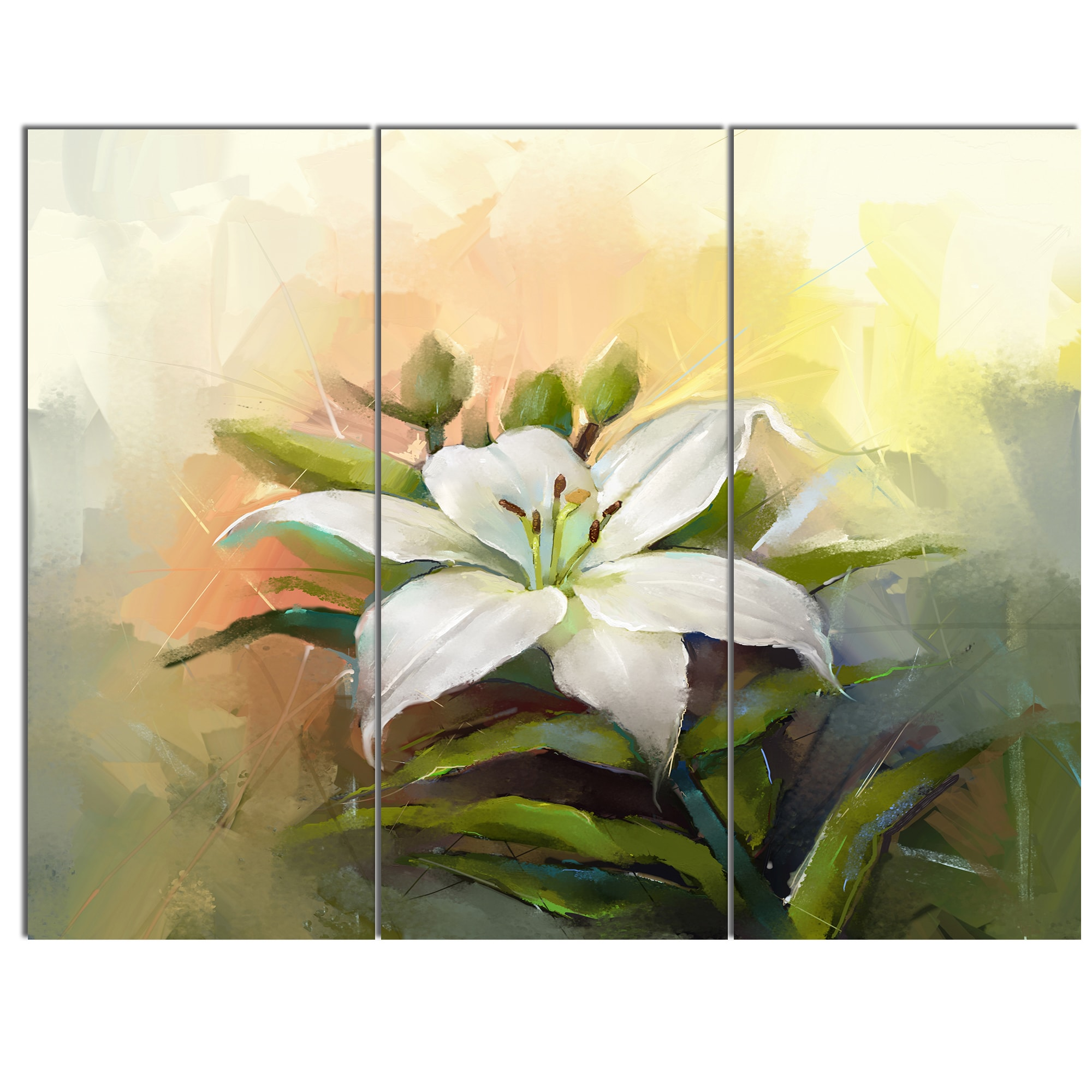 Shop Designart White Lily Flower Oil Painting Modern Floral Wall