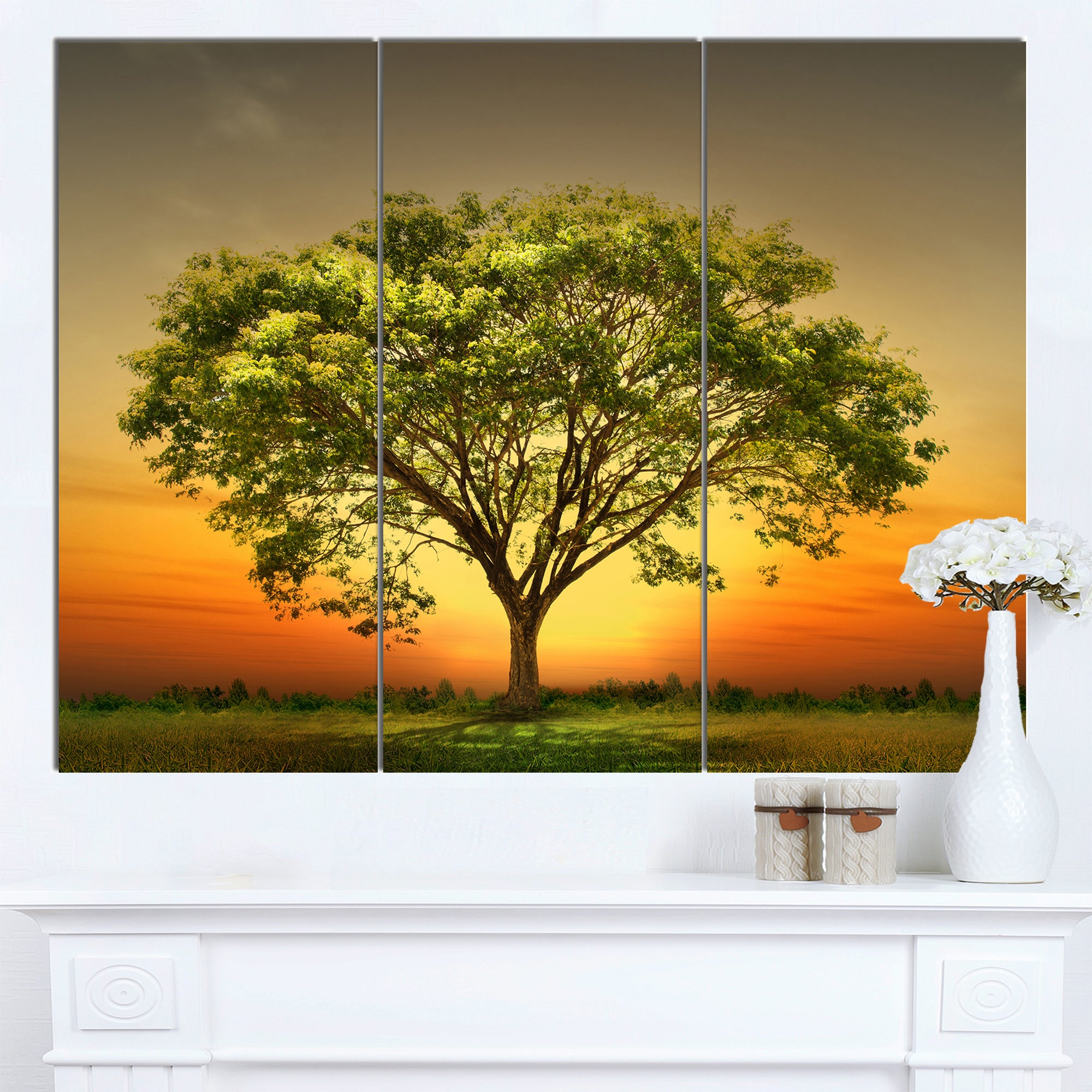 Designart \'Green Tree against Setting Sun\' Modern Trees Canvas Wall ...