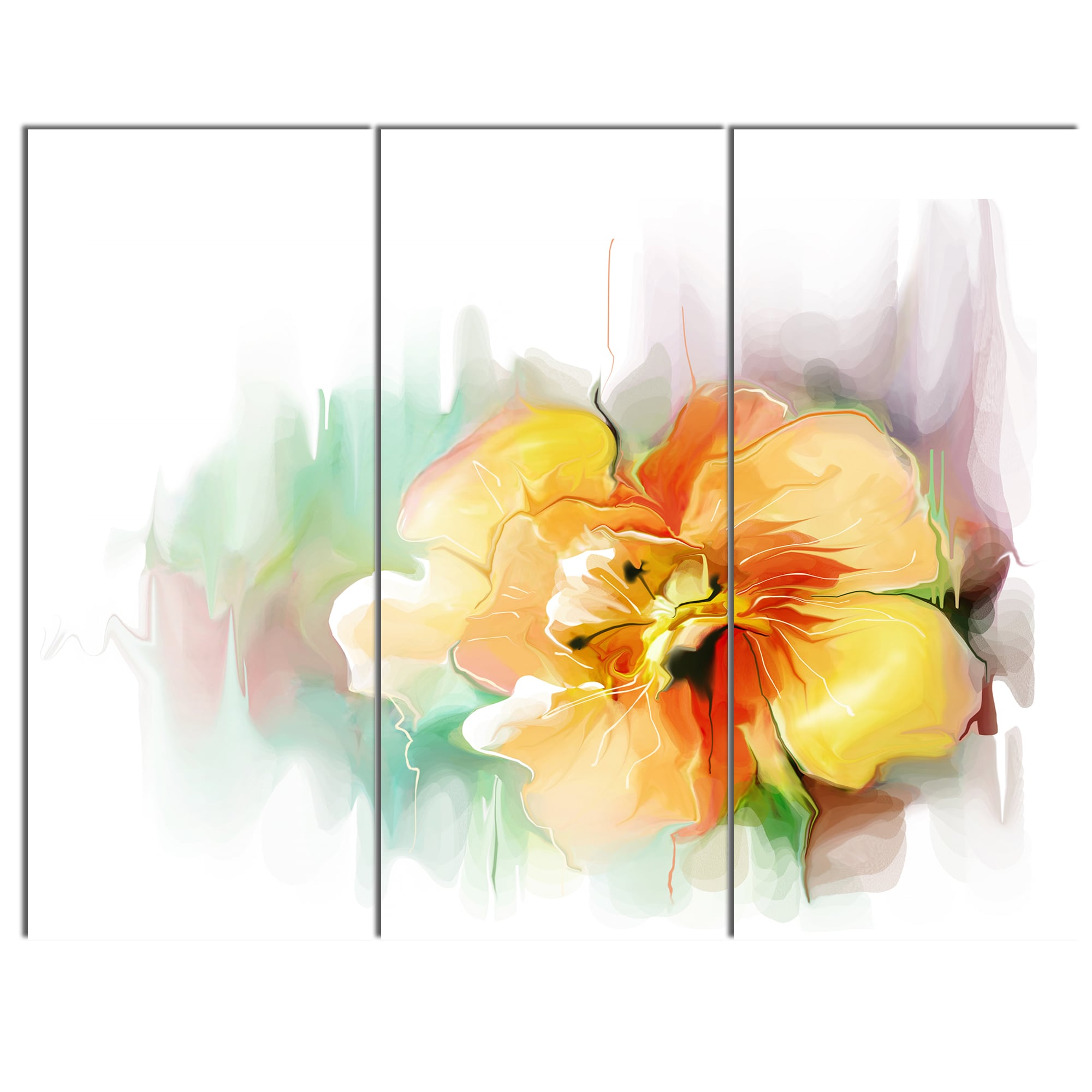 Shop Designart \'Beautiful Yellow Flower Drawing\' Extra Large Floral ...