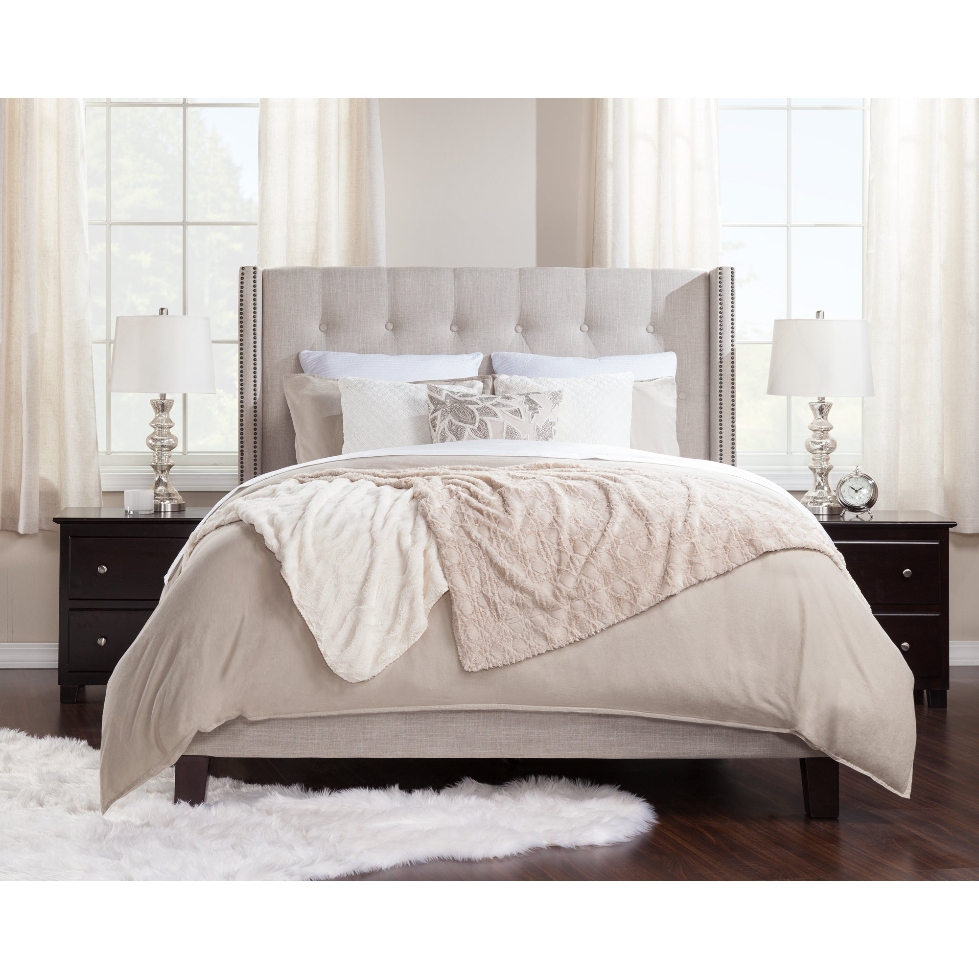 Hadleigh upholstered traditional bed queen size by atlantic furniture