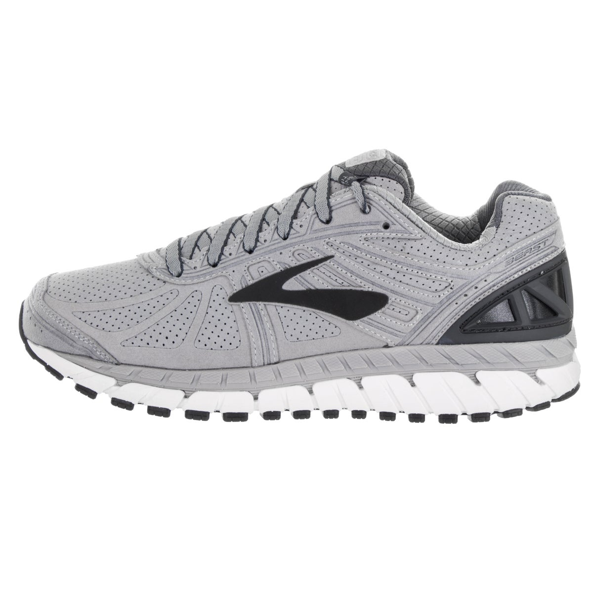 27f5a3b67c225 Shop Brooks Men s Beast  16 LE Silver Suede Running Shoes - Free Shipping  Today - Overstock - 13620275