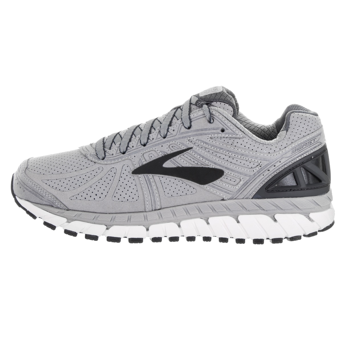 3b9824a6859 Shop Brooks Men s Beast  16 LE Silver Suede Running Shoes - Free Shipping  Today - Overstock - 13620275