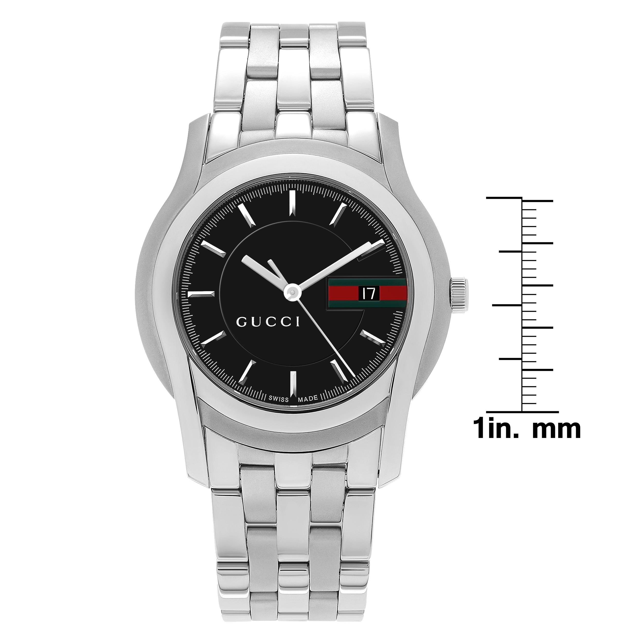 14c69e04c69 Gucci Men s YA055202  5500 XL  Black Dial Stainless Steel Bracelet Watch -  Silver