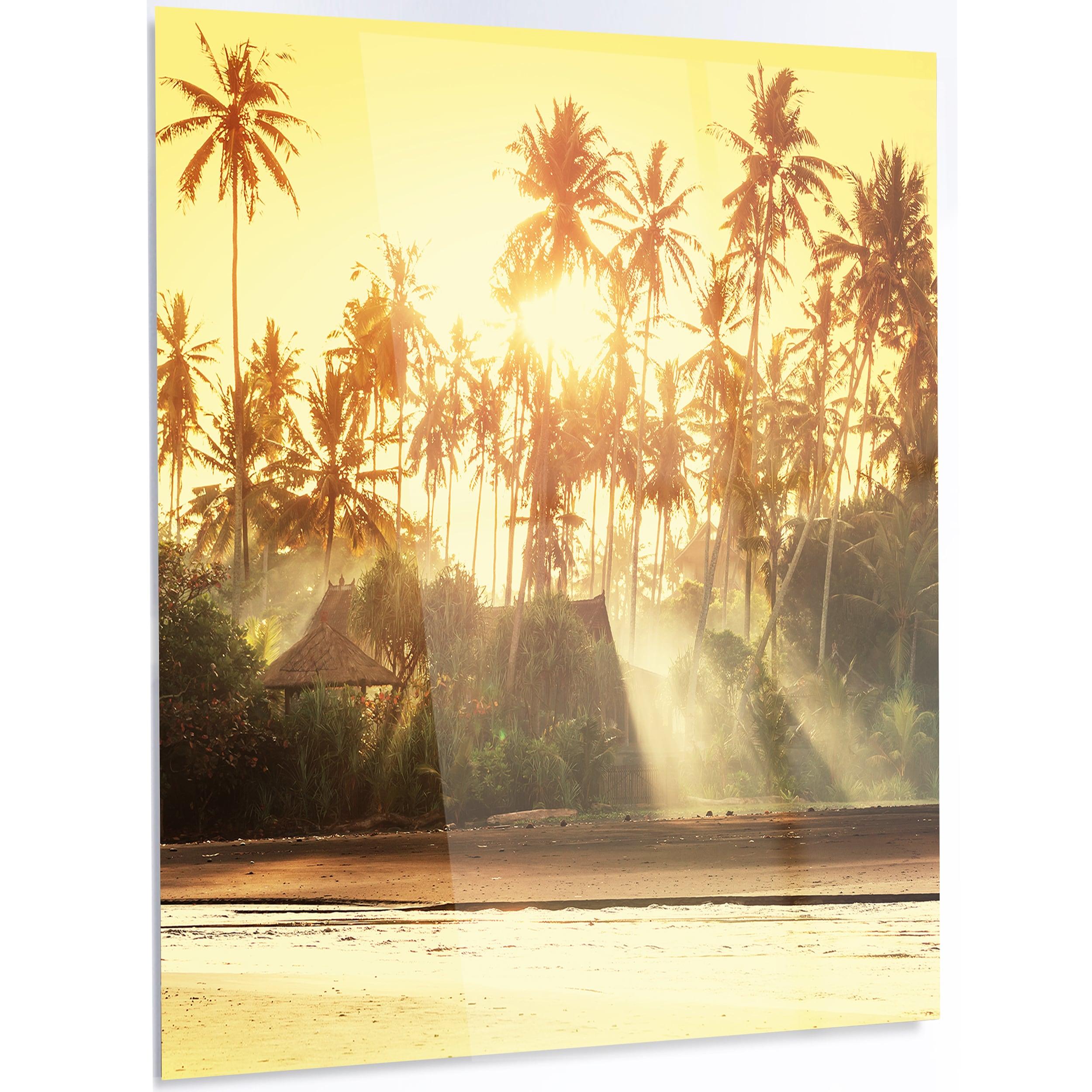 Shop Designart \'Bamboo Huts on Tropical Island\' Landscape Metal Wall ...