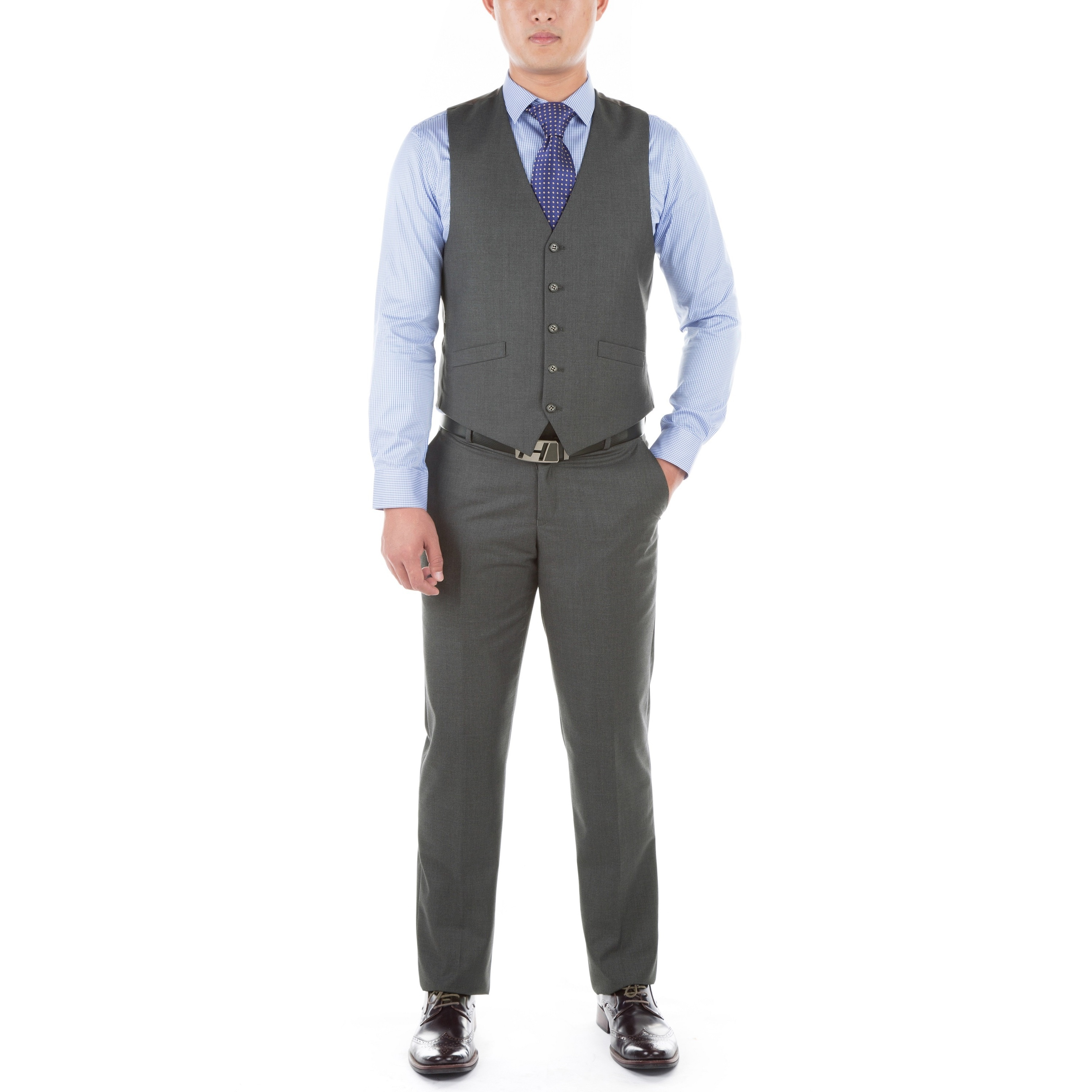 2f232129fe6 Shop Verno Men s Grey Polyester Medium 3-piece Slim-fit Suit - Free  Shipping Today - Overstock - 13621013