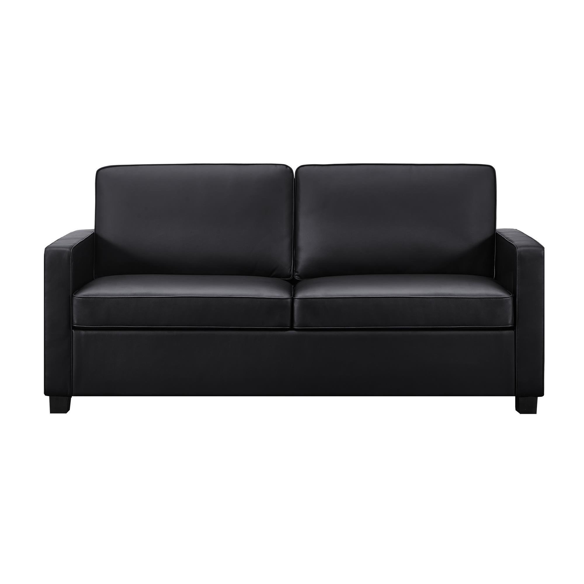 Shop Dhp Signature Sleep Casey Black Faux Leather Queen Sleeper Sofa