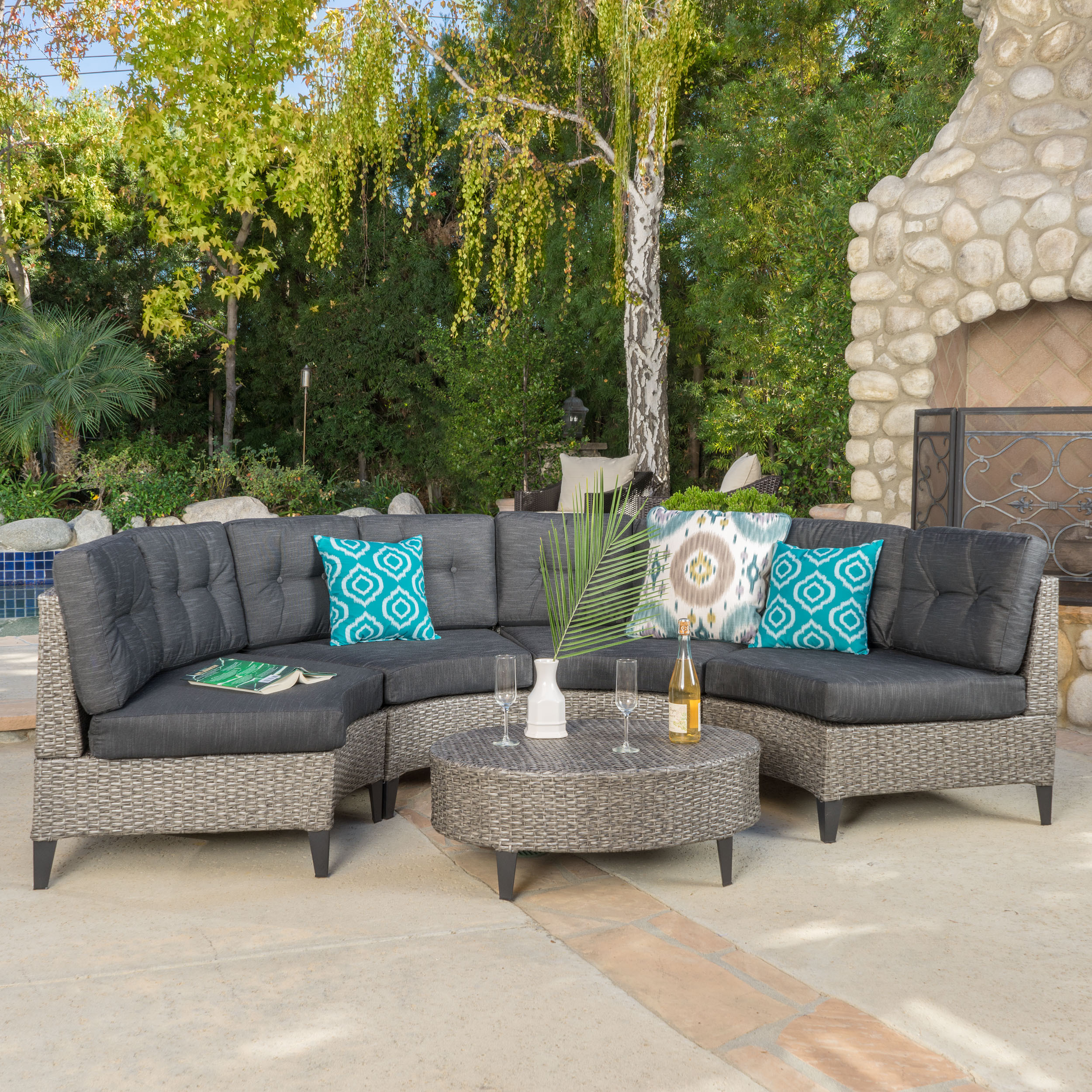 Navagio Outdoor 5 Piece Wicker Sofa Set With Cushions By Christopher Knight Home On Free Shipping Today 13621643