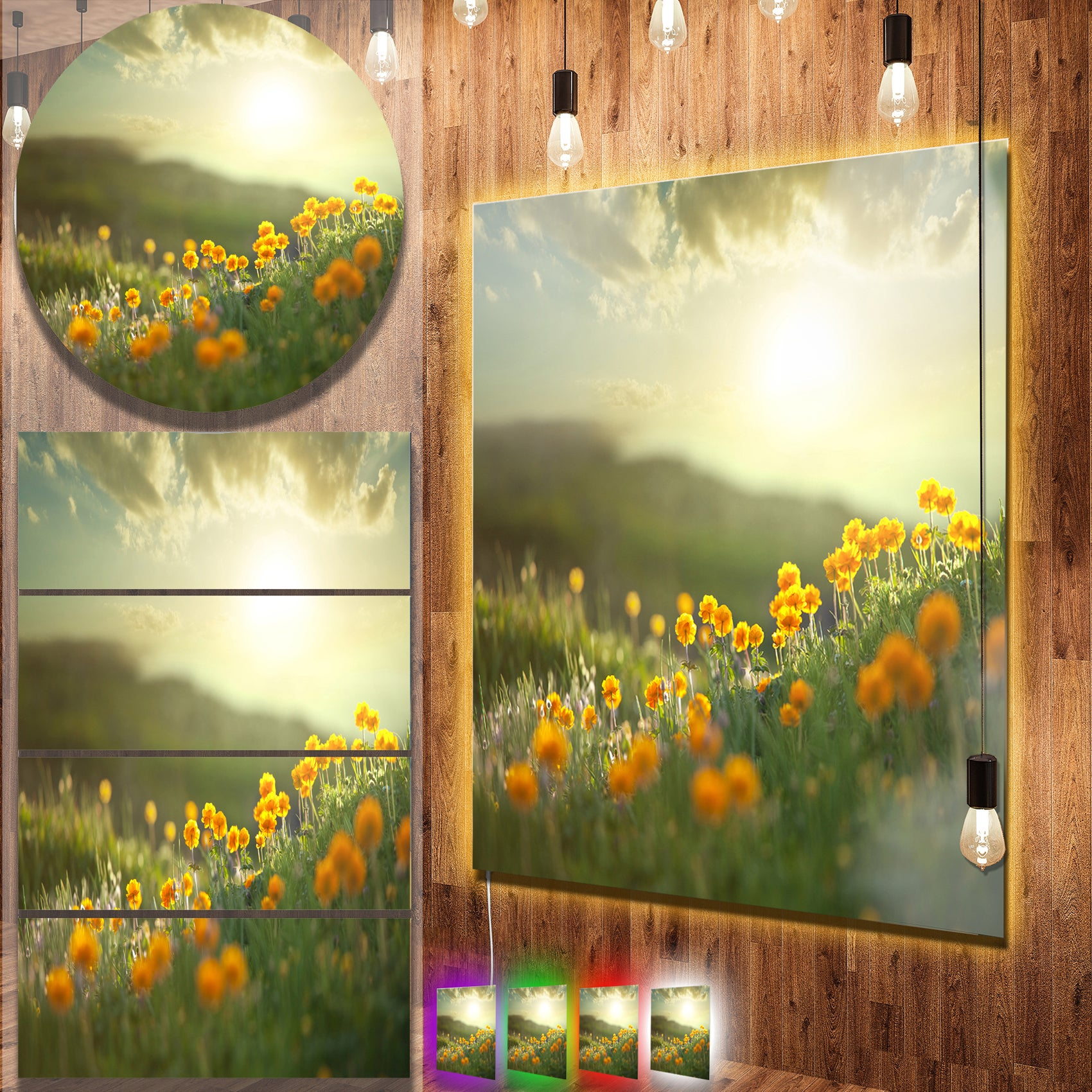 Designart \'Yellow Flowers in Meadow At Morning\' Large Flower Metal ...