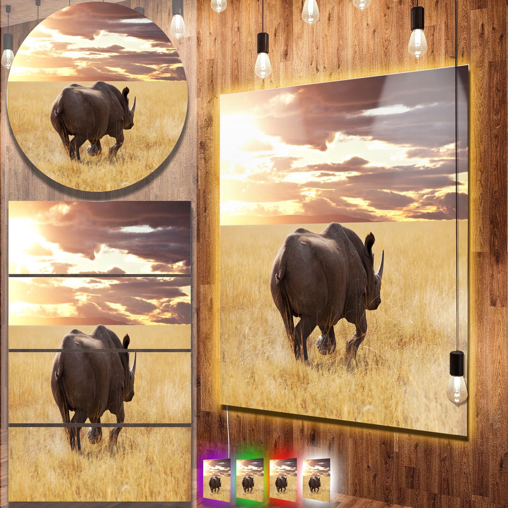 Shop Designart \'Giant Rhino under Bright Sky\' African Metal Wall Art ...