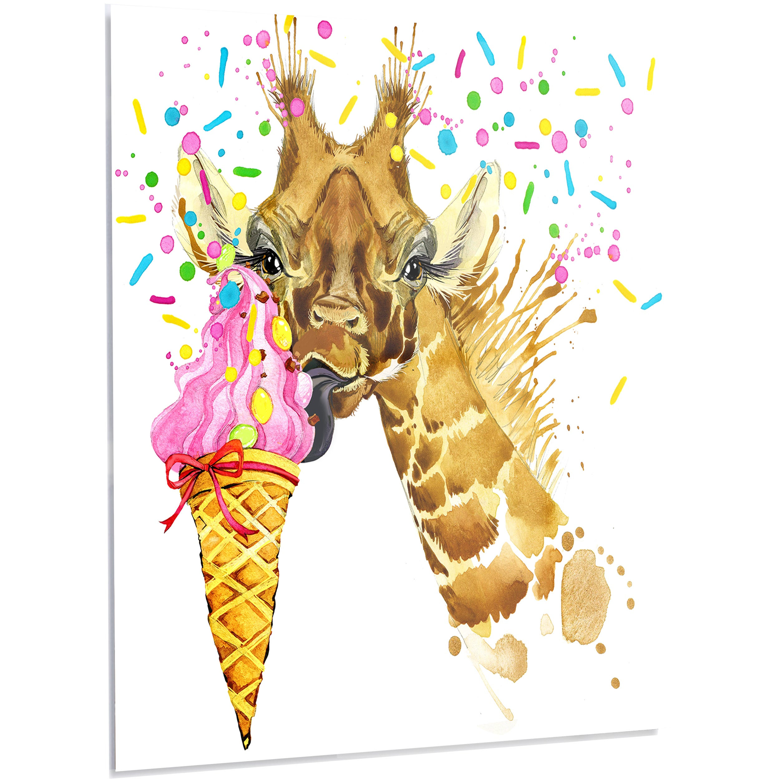 Shop Designart \'Giraffe Eating Ice Cream Watercolor\' Contemporary ...