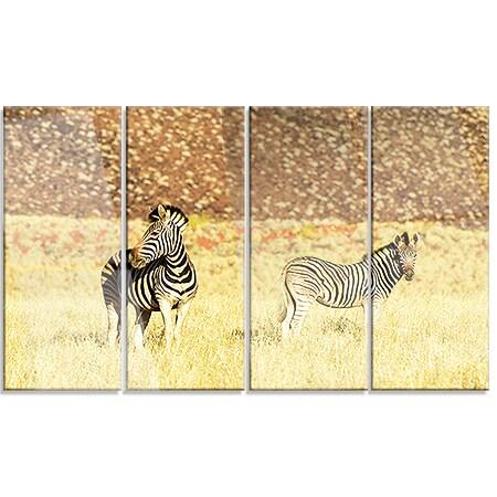 Designart \'Pair of Zebras in Namib Desert\' Animal Metal Wall Art Print