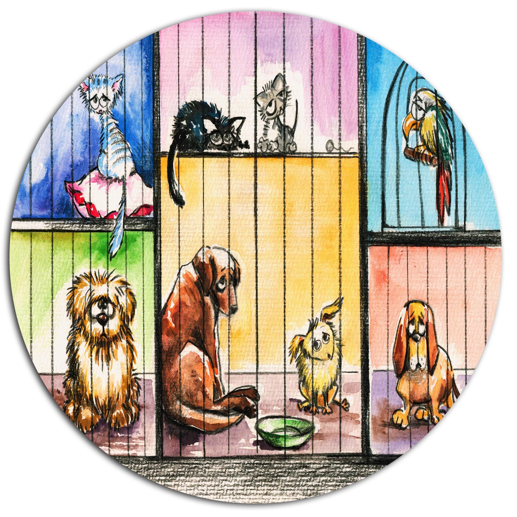 Designart \'Sad Animals in the Pound\' Animal Metal Wall Art - Free ...