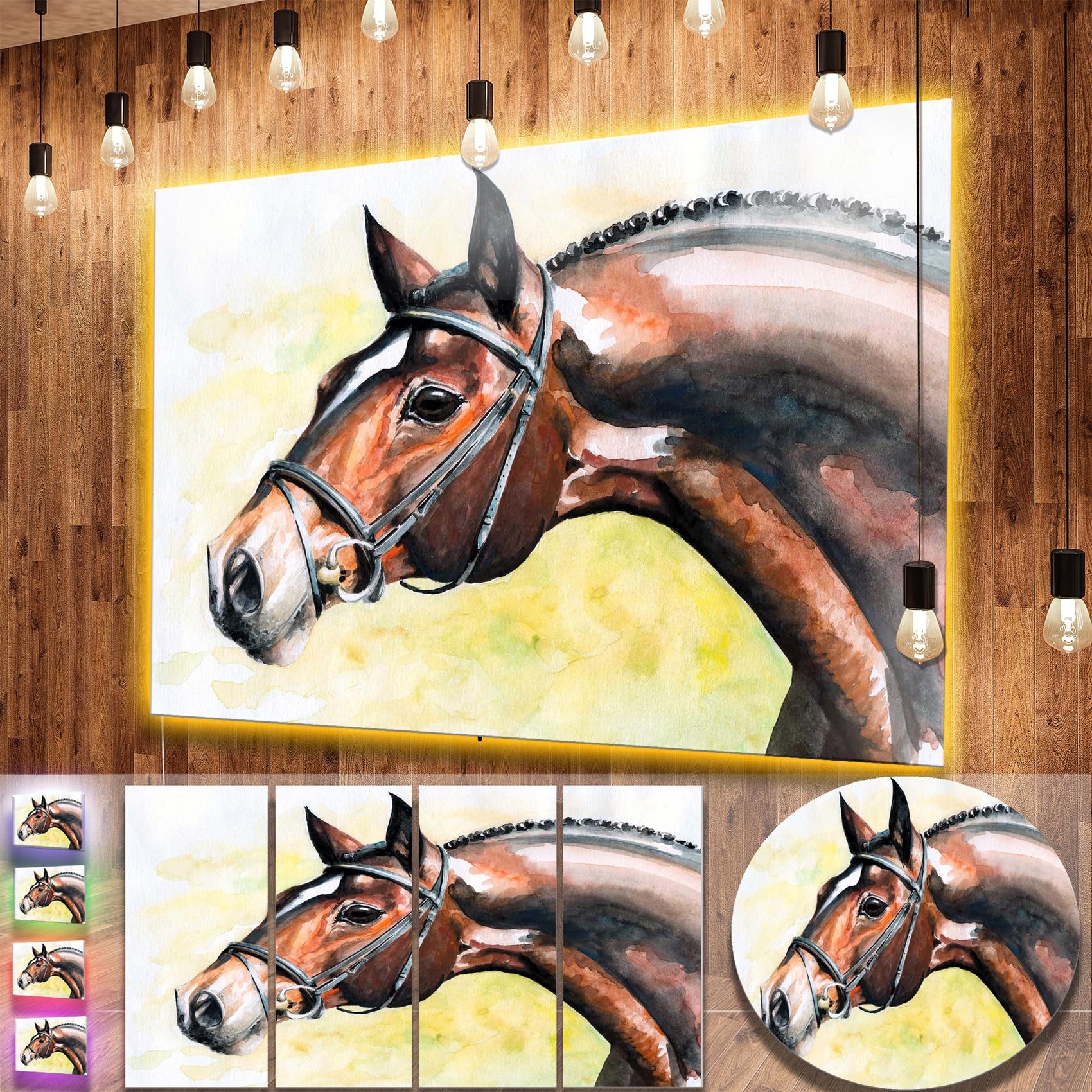 Shop Designart \'Brown Horse Portrait Painting\' Animal Aluminium Wall ...