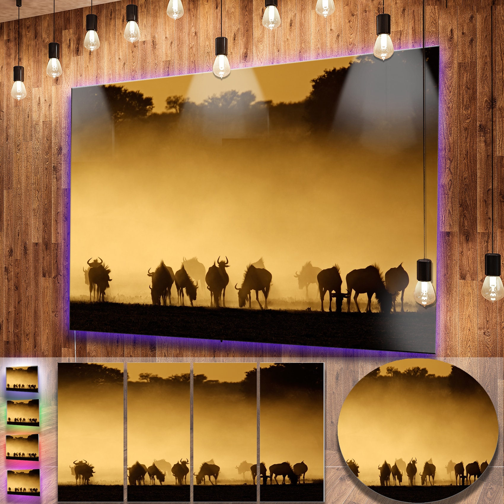 Shop Designart \'Blue Wildebeest in Dust\' African Metal Wall Art ...